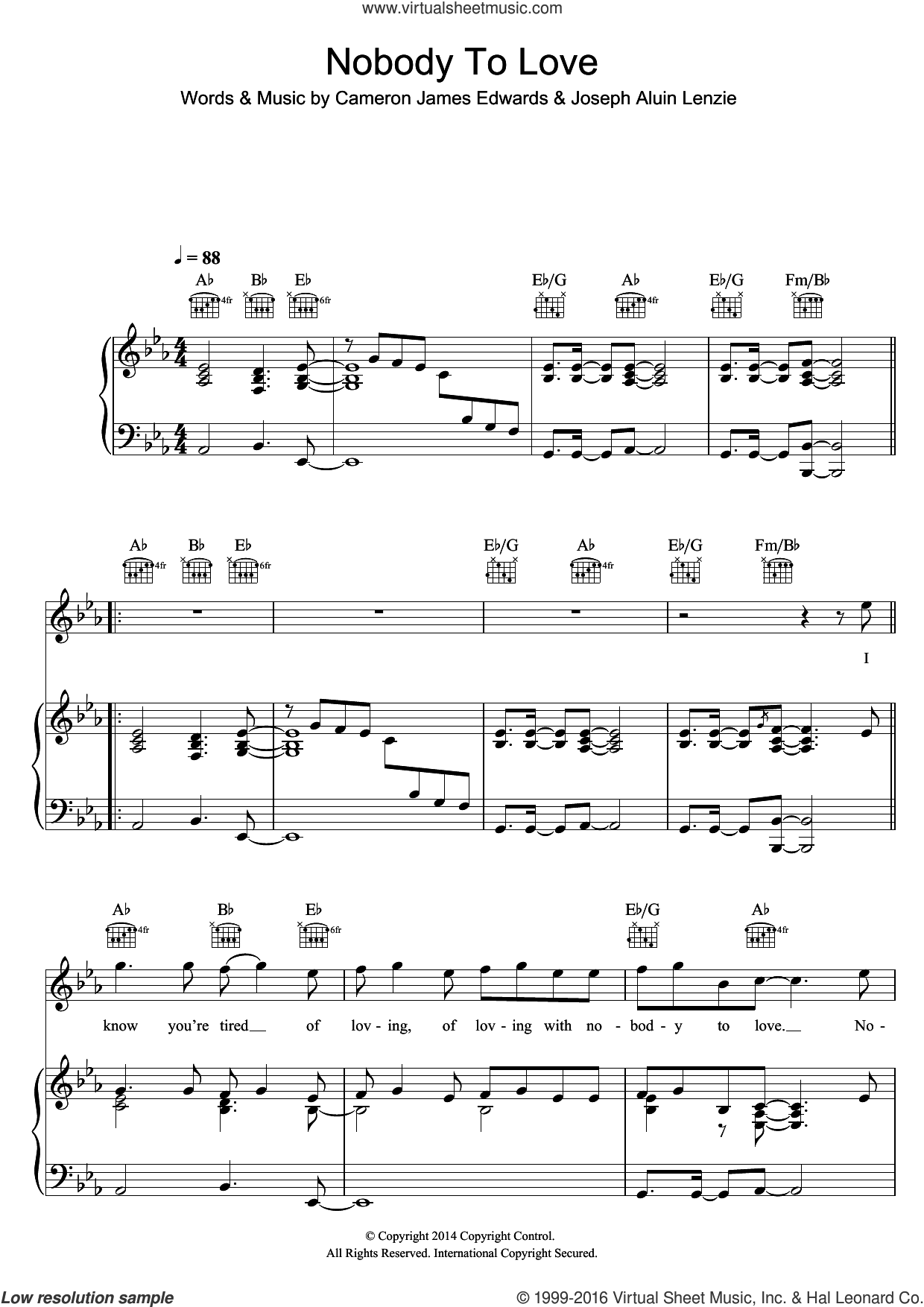 Nobody To Love sheet music for voice, piano or guitar by Sigma, Cameron James Edwards and Joseph Aluin Lenzie, intermediate skill level
