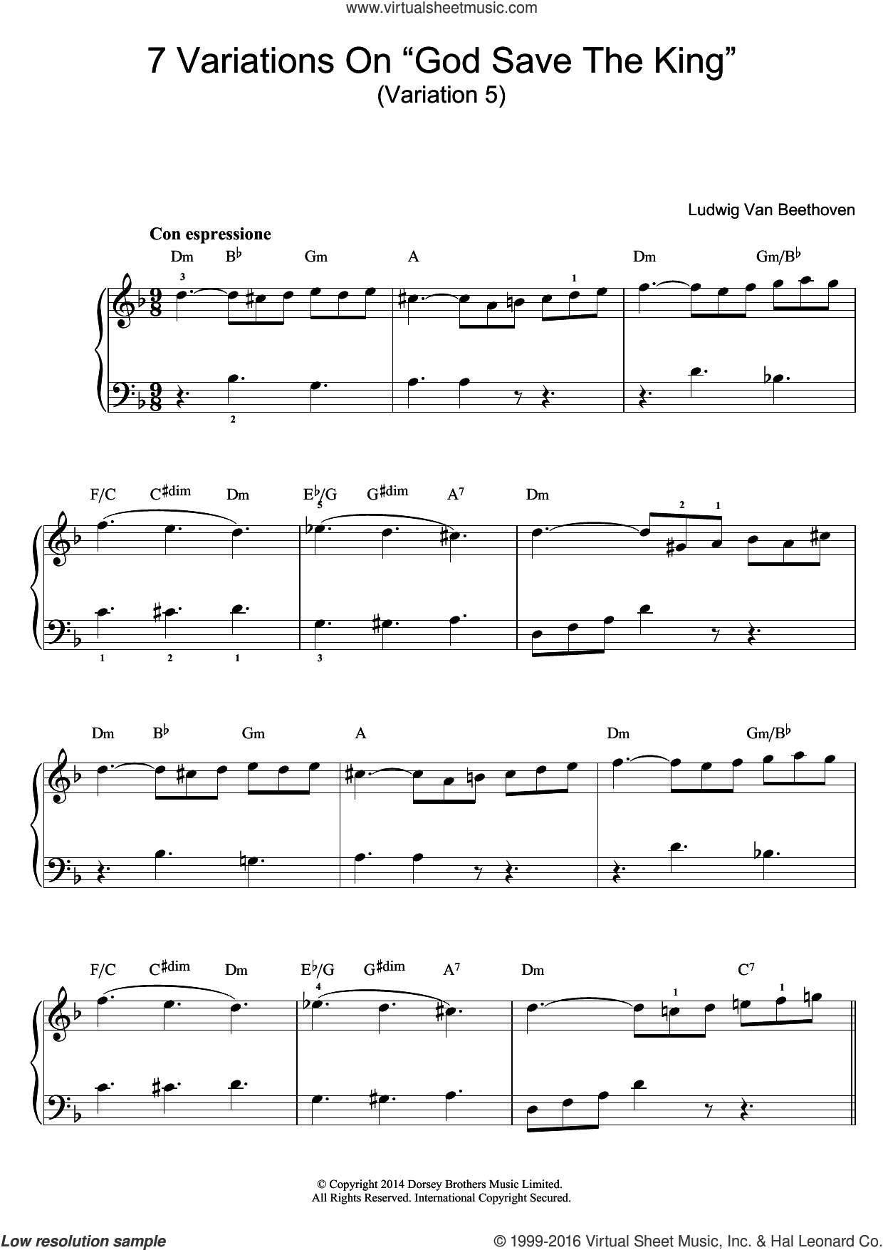 Variation No.5 (From '7 Variations On God Save The King' WoO 78) sheet music for piano solo (beginners) by Ludwig van Beethoven, classical score, beginner piano (beginners)