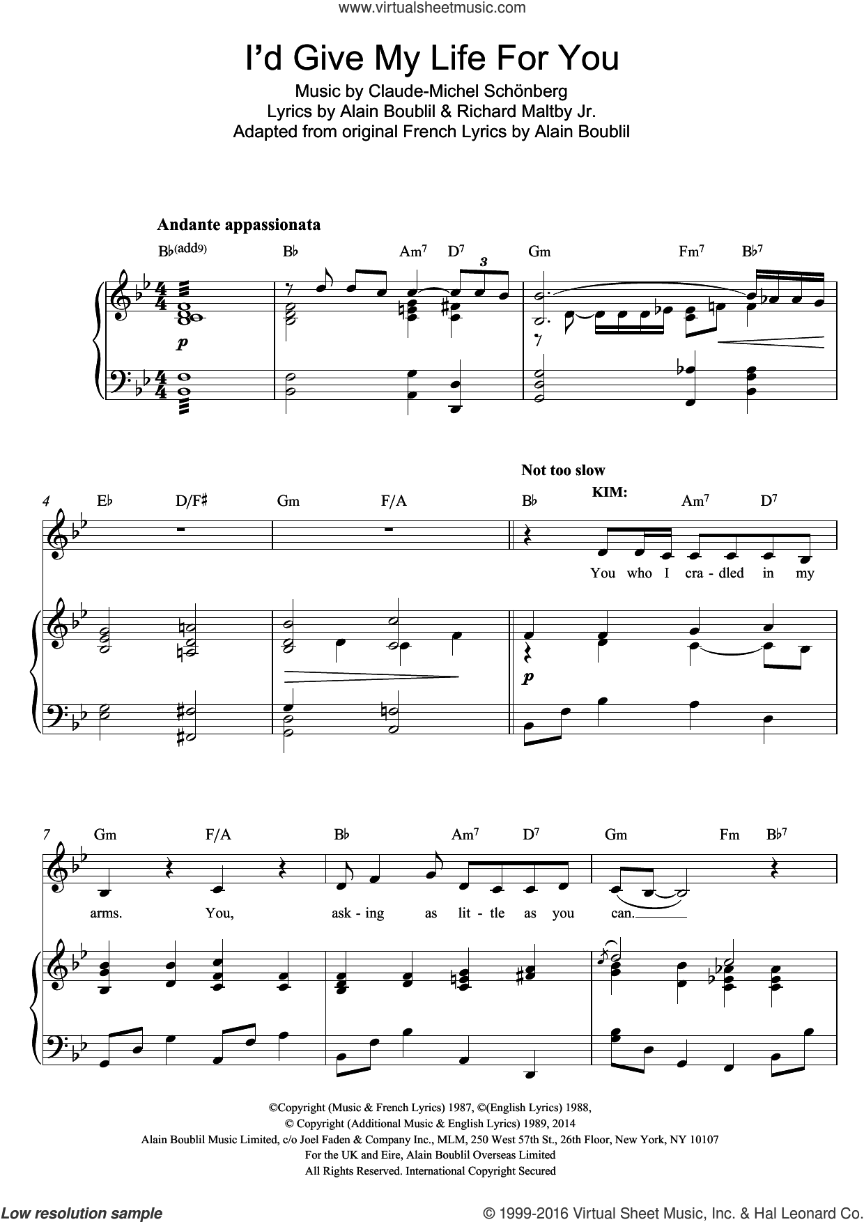 I'd Give My Life For You (from Miss Saigon) sheet music for voice and piano by Boublil and Schonberg, Alain Boublil, Claude-Michel Schonberg and Richard Maltby, Jr., intermediate skill level