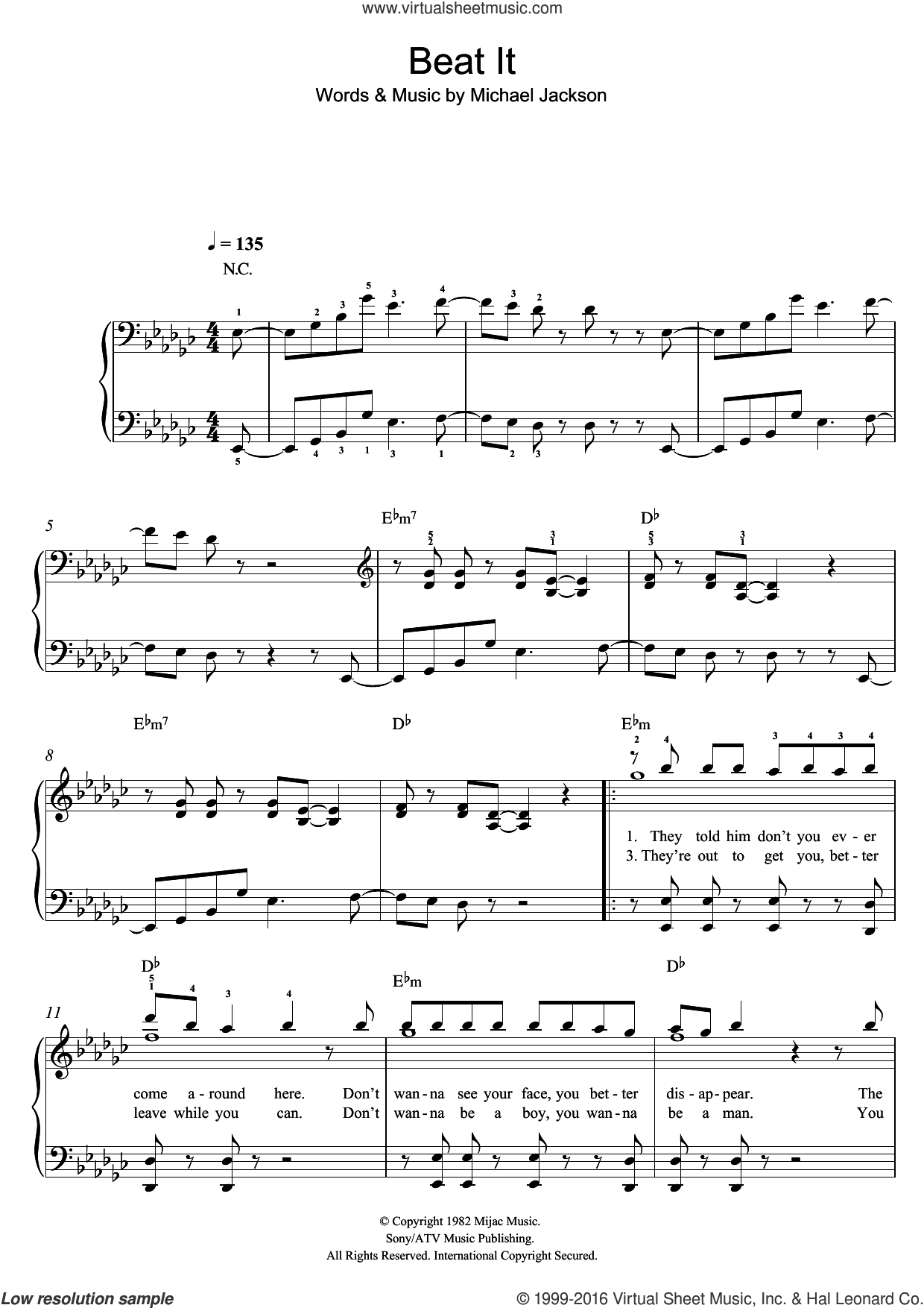 Beat It sheet music for piano solo by Michael Jackson. Score Image Preview.