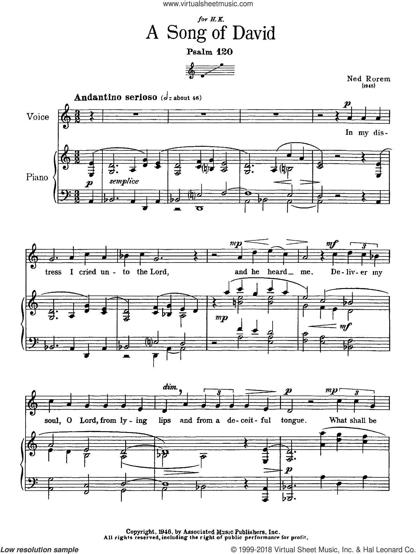 Song Of David (Psalm 120) sheet music for voice solo by Ned Rorem and Miscellaneous, classical score, intermediate skill level