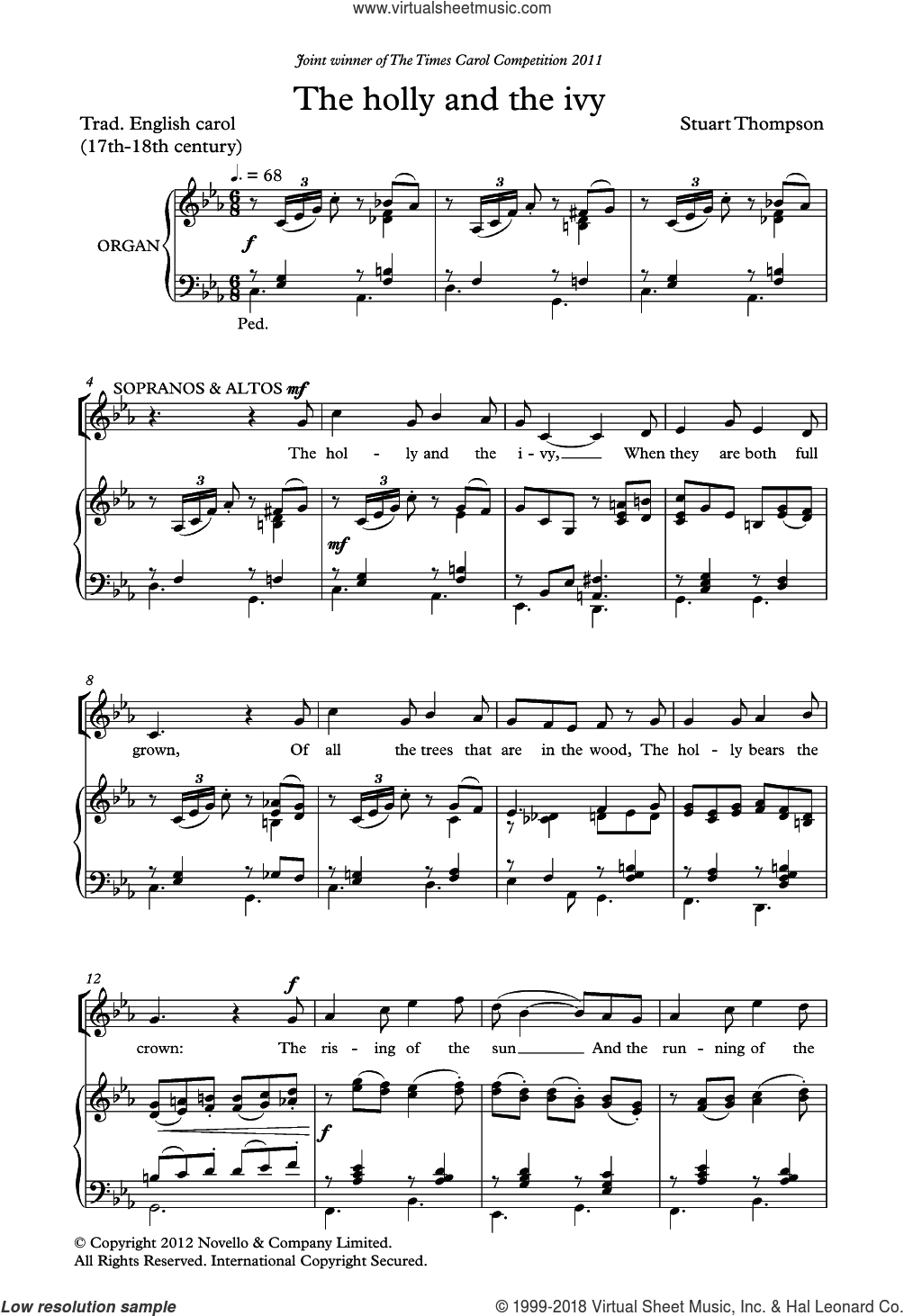 The Holly And The Ivy sheet music for choir (SATB: soprano, alto, tenor, bass) by Stuart Thompson and Miscellaneous, classical score, intermediate skill level