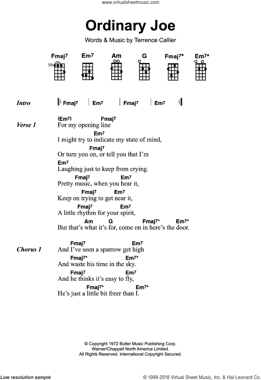 Ordinary Joe sheet music for ukulele by Terry Callier and Terrence Callier, intermediate skill level