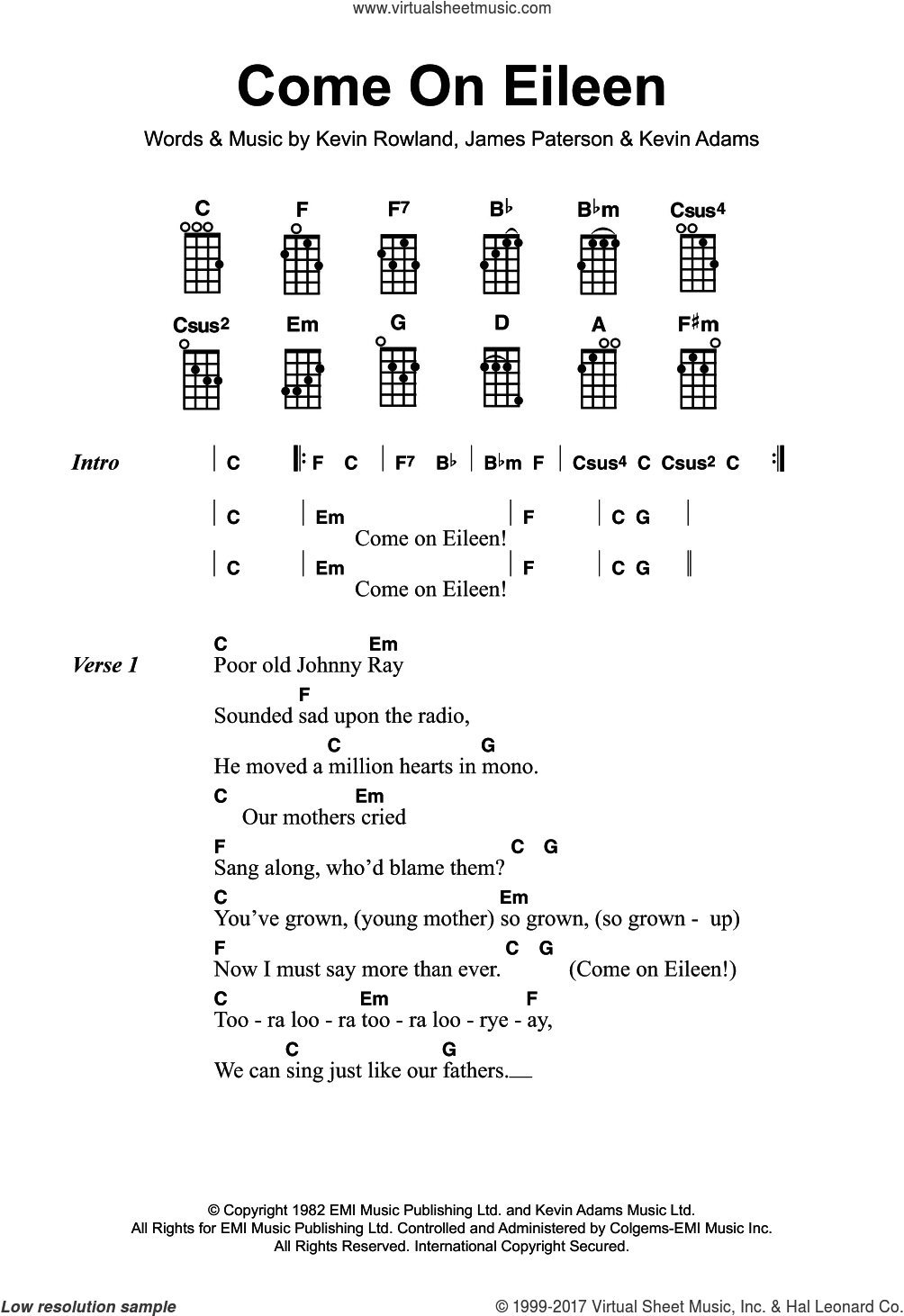 Come On Eileen sheet music for ukulele by Dexy's Midnight Runners, James Paterson, Kevin Adams and Kevin Rowland, intermediate skill level