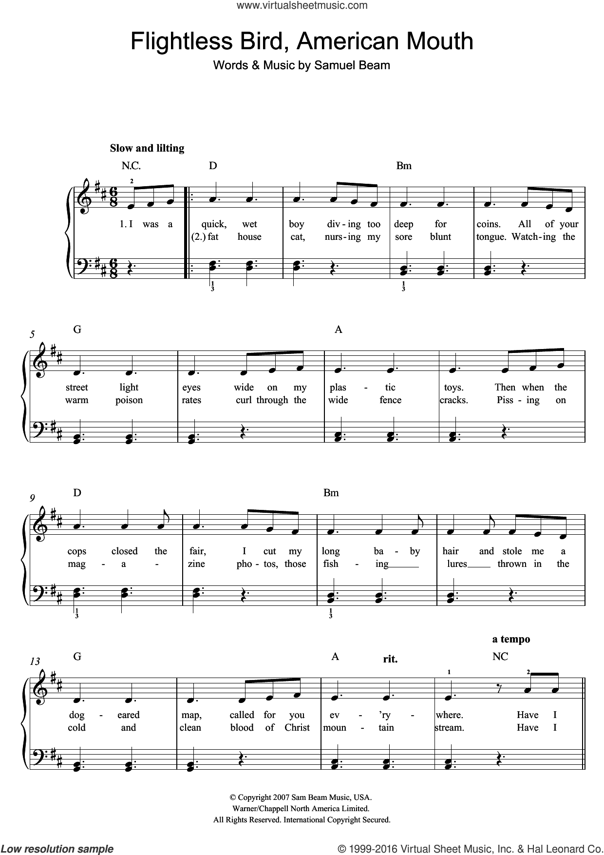 Flightless Bird, American Mouth sheet music for piano solo (beginners) by Iron & Wine and Samuel Beam, beginner piano (beginners). Score Image Preview.