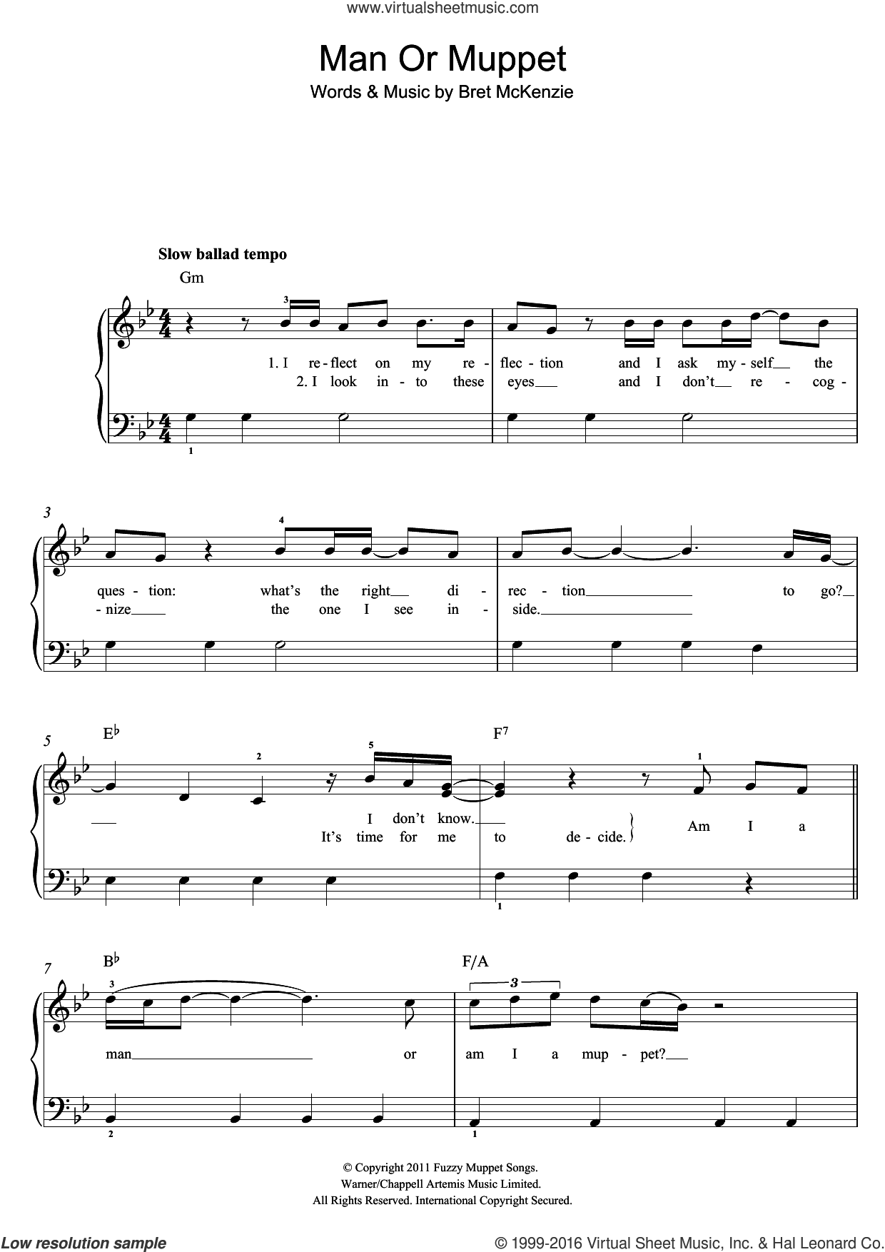 Man Or Muppet sheet music for piano solo by Jason Segel and Bret McKenzie, easy skill level