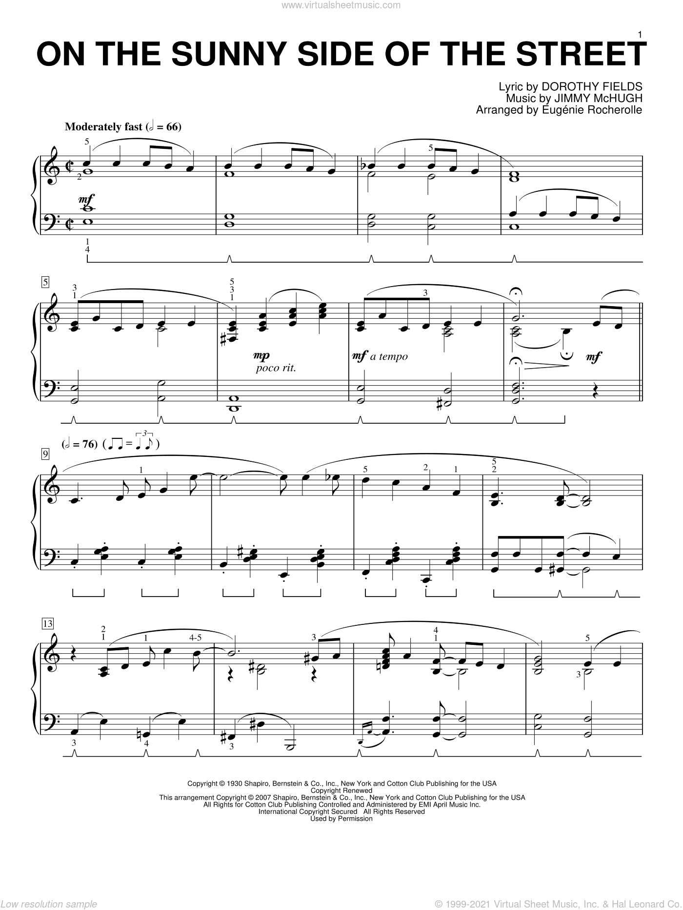 On The Sunny Side Of The Street sheet music for piano solo by Dorothy Fields, Eugenie Rocherolle and Jimmy McHugh, intermediate. Score Image Preview.