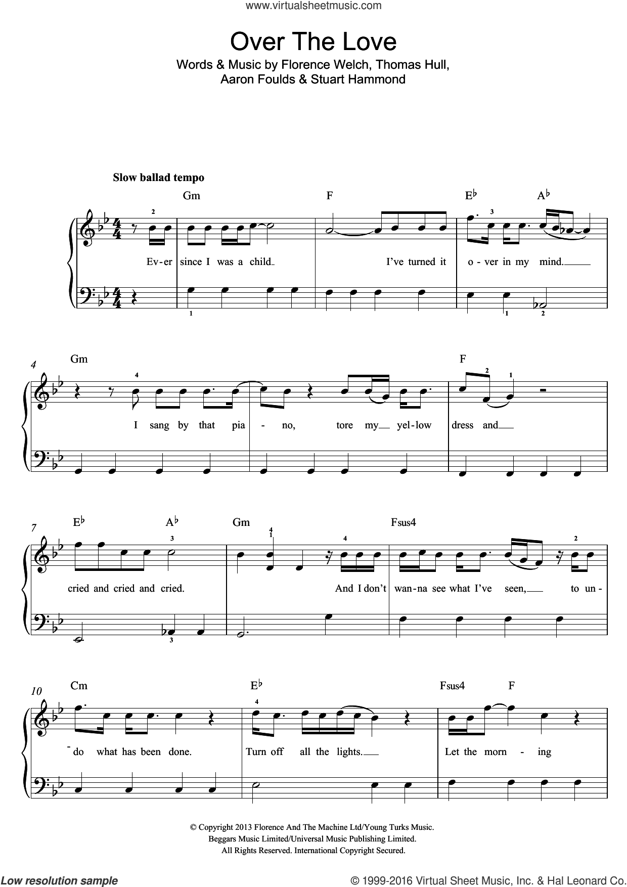 Over The Love sheet music for piano solo (beginners) by Florence And The Machine. Score Image Preview.