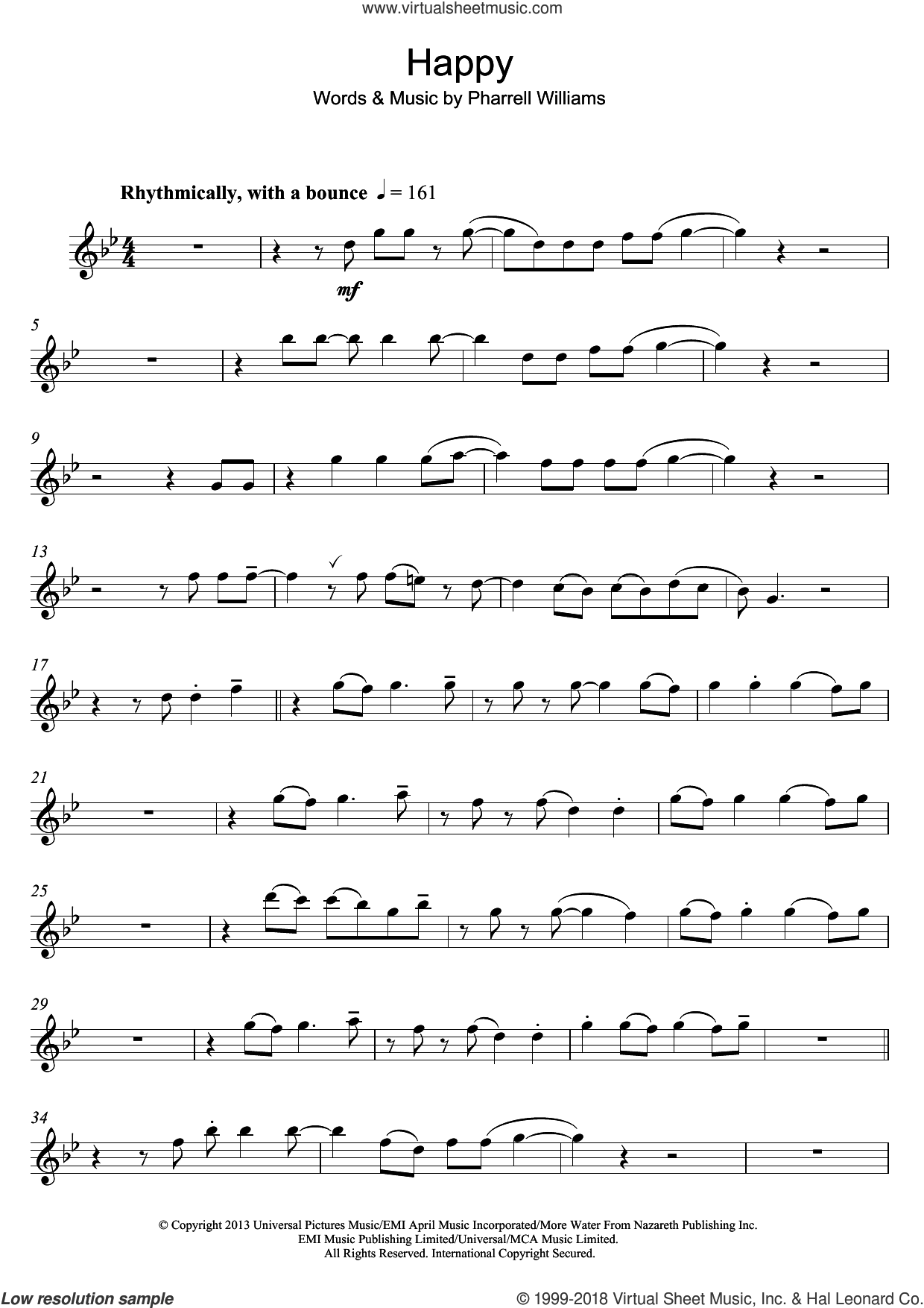 Happy sheet music for flute solo by Pharrell Williams, intermediate skill level