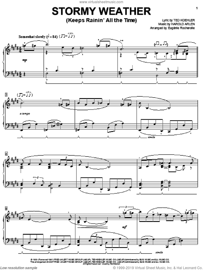 Stormy Weather (Keeps Rainin' All The Time) sheet music for piano solo by Eugenie Rocherolle, Lena Horne, Harold Arlen and Ted Koehler, intermediate skill level