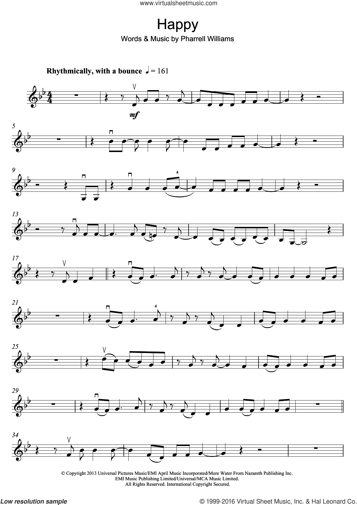 Happy sheet music for violin solo by Pharrell Williams, intermediate skill level