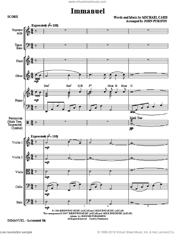 Immanuel (COMPLETE) sheet music for orchestra/band (chamber ensemble) by John Purifoy and Michael Card, intermediate skill level