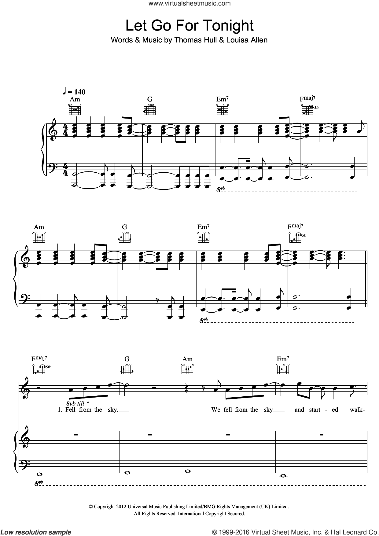 Let Go For Tonight sheet music for voice, piano or guitar by Foxes, intermediate voice, piano or guitar. Score Image Preview.