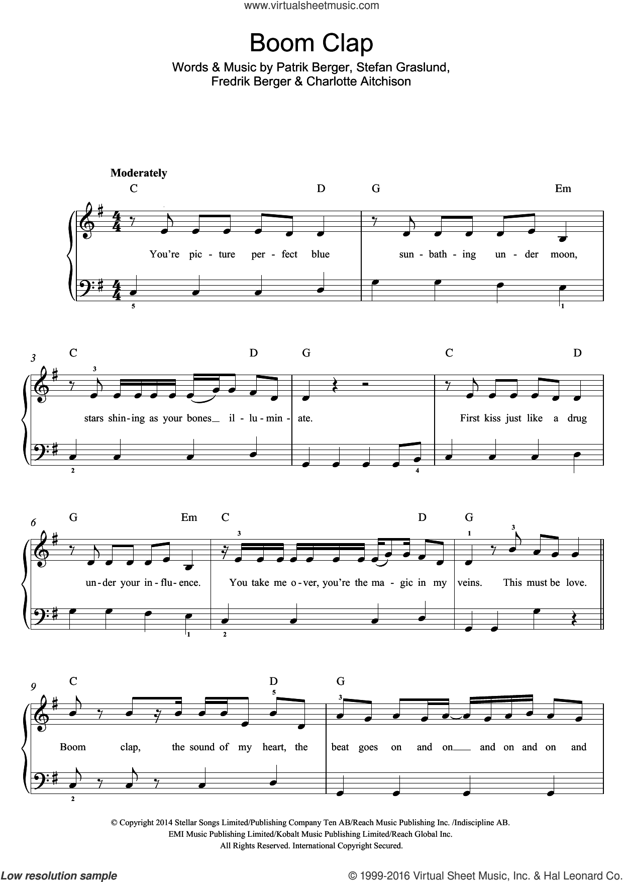Boom Clap sheet music for piano solo (beginners) by Charli XCX, Charlotte Aitchison, Fredrik Berger, Patrik Berger and Stefan Graslund, beginner piano (beginners)