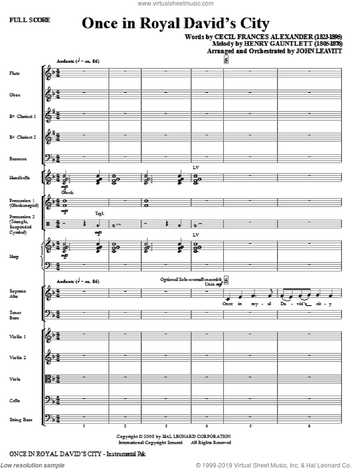 Once in Royal David's City (COMPLETE) sheet music for orchestra/band (chamber ensemble) by John Leavitt, Cecil Alexander and Henry Gauntlett, intermediate. Score Image Preview.