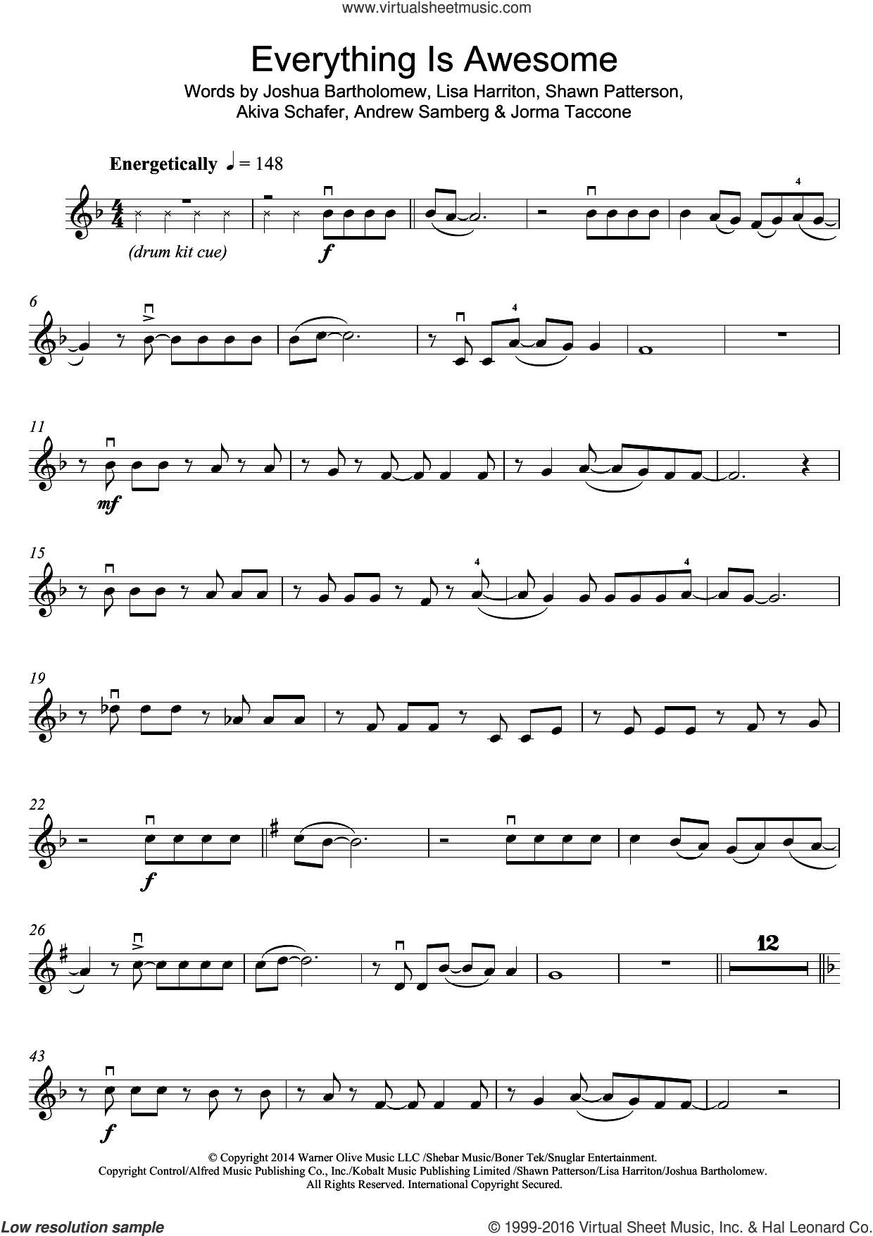 Everything Is Awesome (featuring The Lonely Island) (From The Lego Movie) sheet music for violin solo by Tegan and Sara, The Lonely Island, Akiva Schafer, Andrew Samberg, Jorma Taccone, Joshua Bartholomew, Lisa Harriton and Shawn Patterson, intermediate skill level