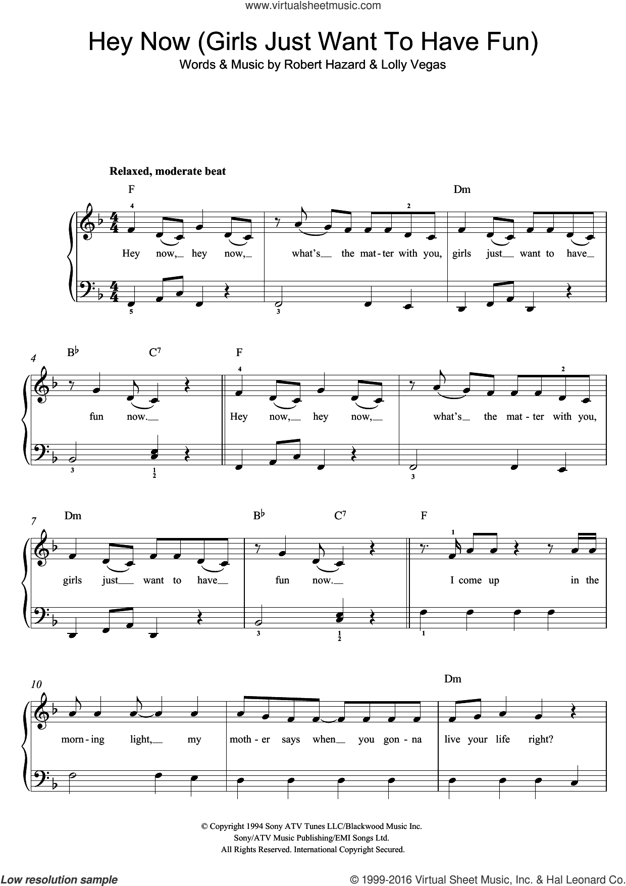 Girls Just Want To Have Fun sheet music for piano solo (beginners) by Cyndi Lauper. Score Image Preview.