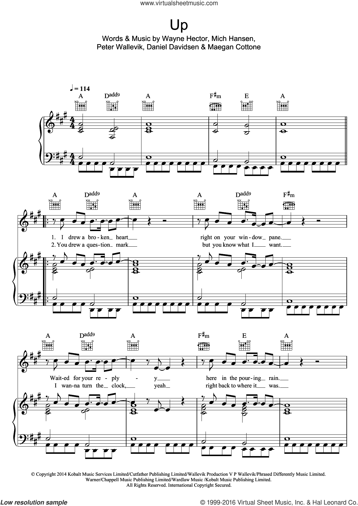 Up (featuring Demi Lovato) sheet music for voice, piano or guitar by Olly Murs, Demi Lovato, Daniel Davidsen, Maegan Cottone, Mich Hansen, Peter Wallevik and Wayne Hector, intermediate skill level