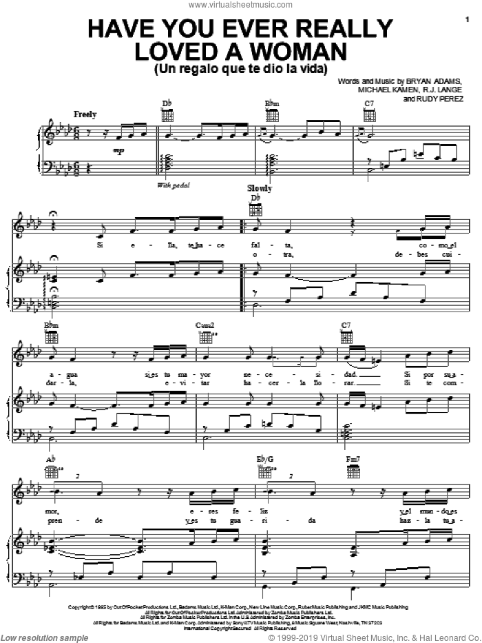 Have You Ever Really Loved A Woman (Un Regalo Que Te Dio La Vida) sheet music for voice, piano or guitar by Il Divo, Bryan Adams, Michael Kamen, Robert John Lange and Rudy Perez, intermediate skill level