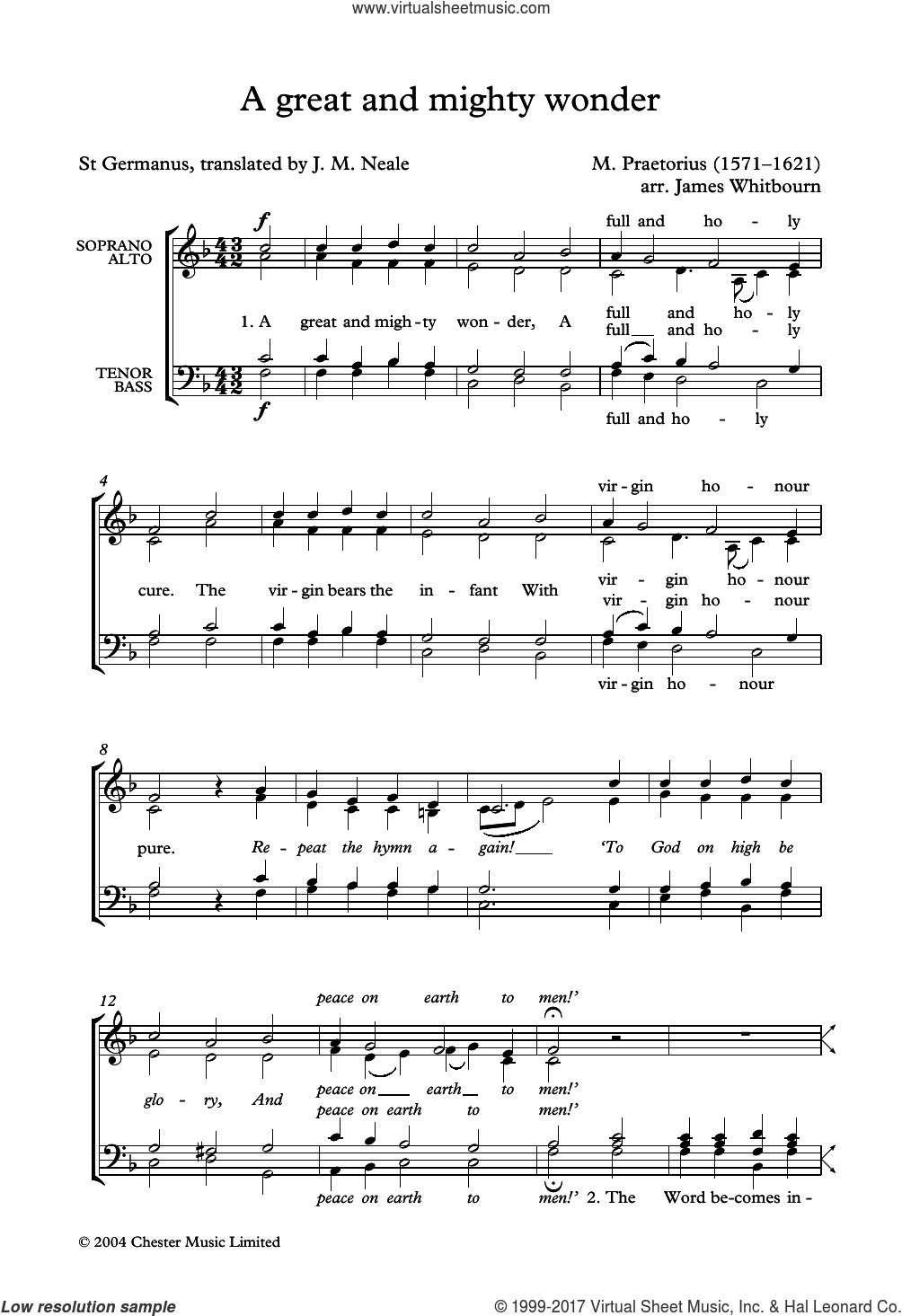 A Great and Mighty Wonder (arr. James Whitbourn) sheet music for choir (SATB: soprano, alto, tenor, bass) by Michael Praetorius, James Whitbourn and John Mason Neale, intermediate