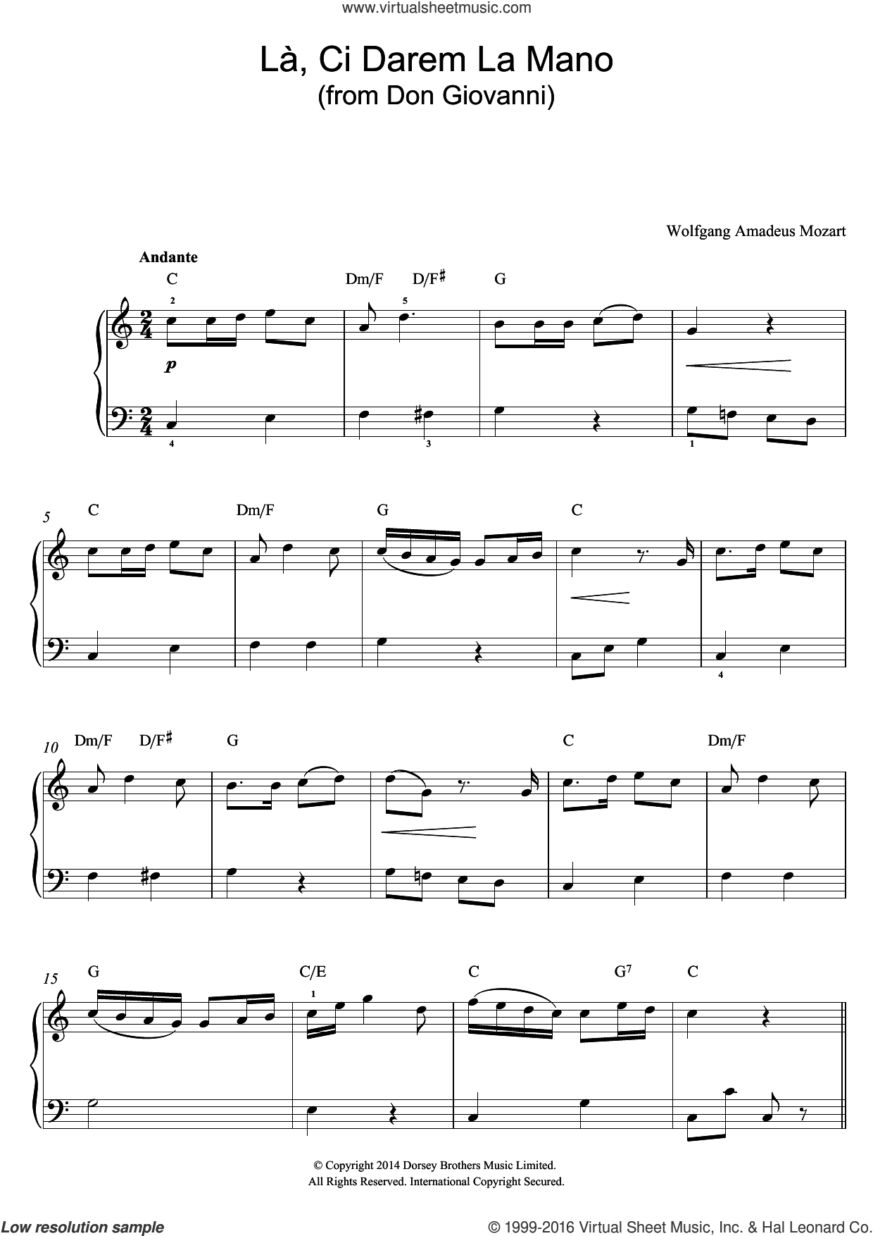 La, Ci Darem La Mano (from Don Giovanni) sheet music for piano solo (beginners) by Wolfgang Amadeus Mozart. Score Image Preview.