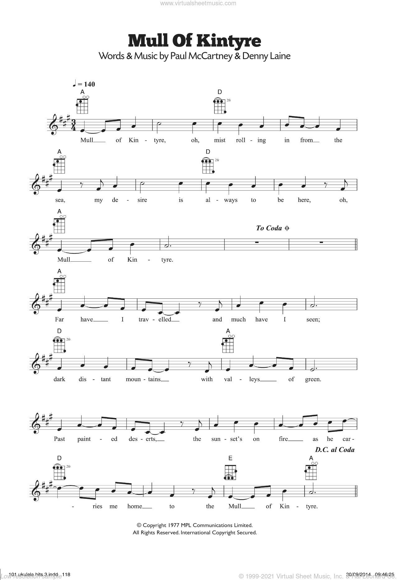 Mull Of Kintyre sheet music for ukulele by Paul McCartney, Paul McCartney and Wings, Wings and Denny Laine, intermediate skill level