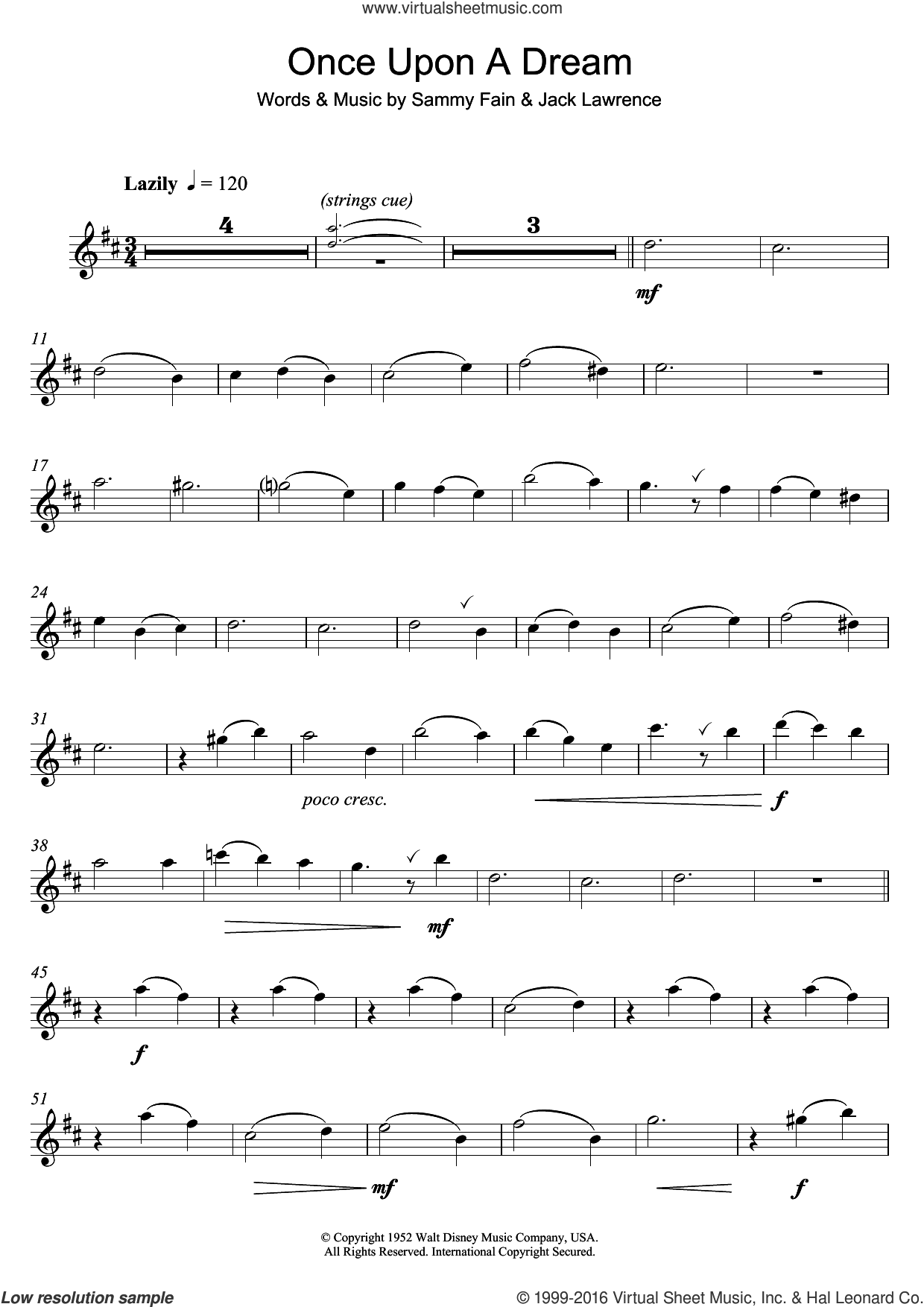 Once Upon A Dream sheet music for alto saxophone solo by Lana Del Rey, Jack Lawrence and Sammy Fain, intermediate skill level