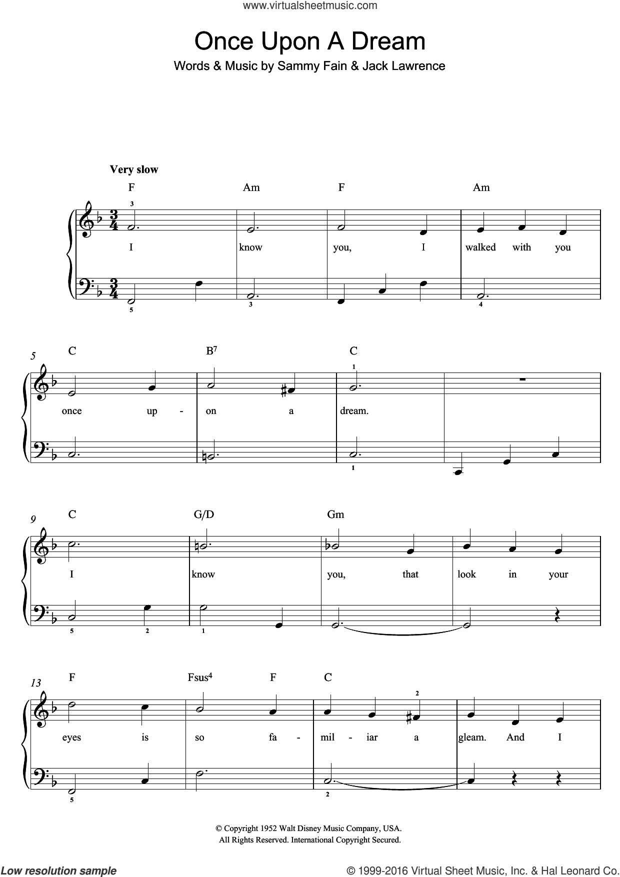 Once Upon A Dream sheet music for piano solo (beginners) by Lana Del Rey, Jack Lawrence and Sammy Fain. Score Image Preview.