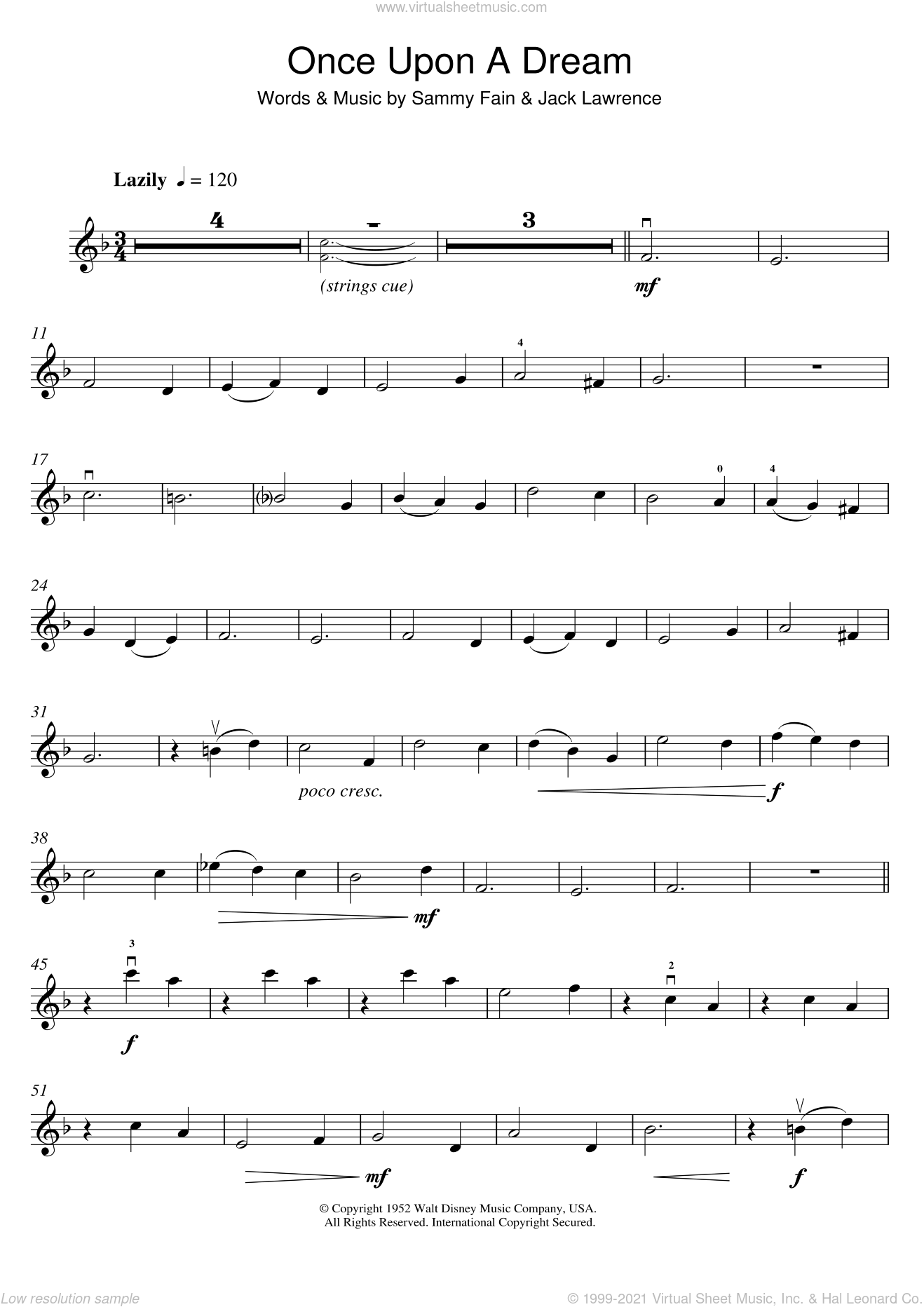 Once Upon A Dream sheet music for violin solo by Lana Del Rey, Jack Lawrence and Sammy Fain, intermediate skill level