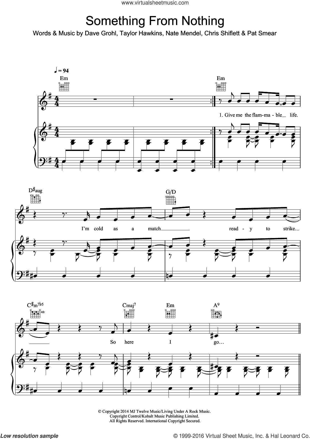 Something From Nothing sheet music for voice, piano or guitar by Foo Fighters, Chris Shiflett, Dave Grohl, Nate Mendel, Pat Smear and Taylor Hawkins, intermediate skill level