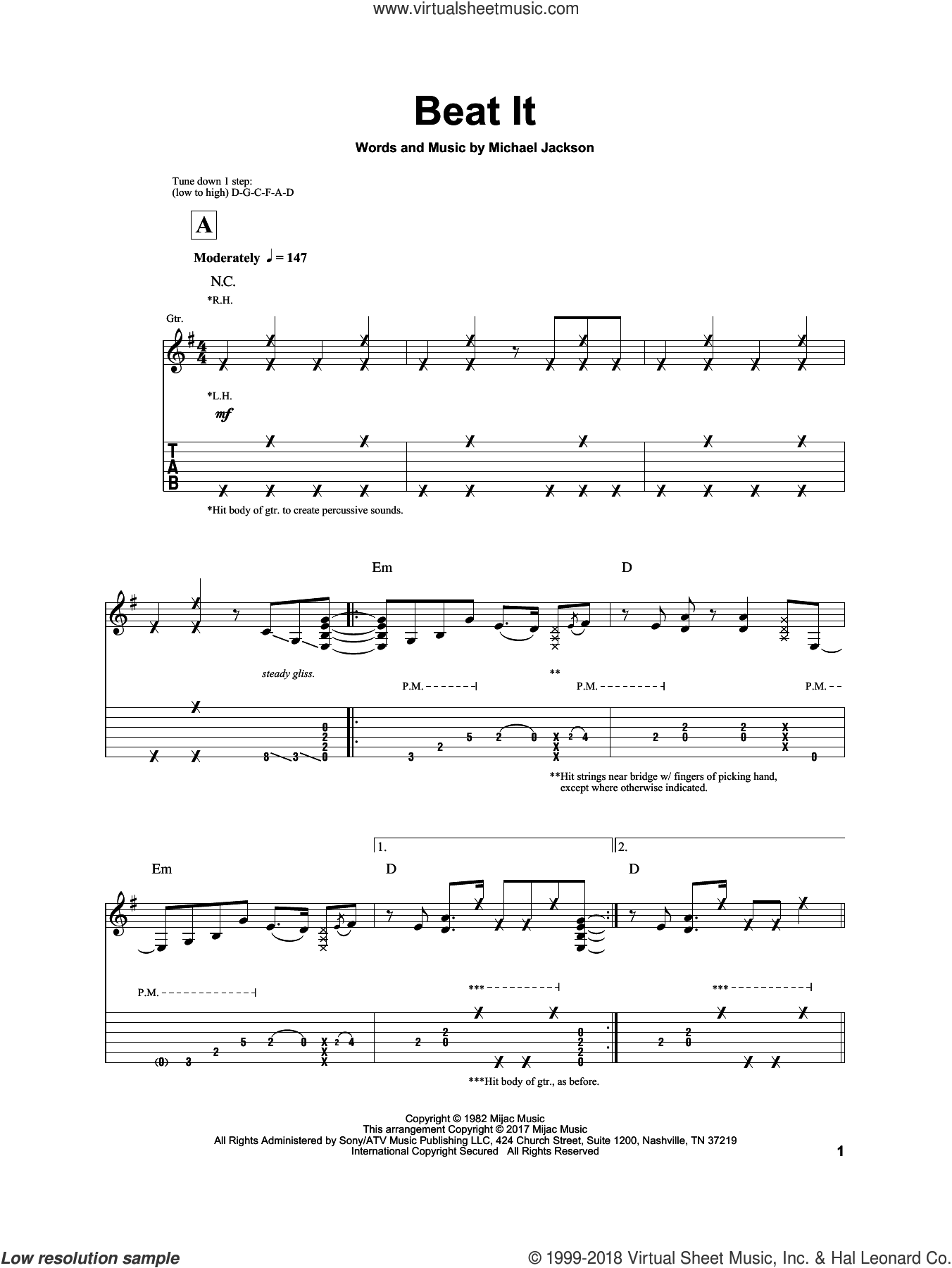Beat It sheet music for guitar solo by Michael Jackson and Igor Presnyakov, intermediate. Score Image Preview.