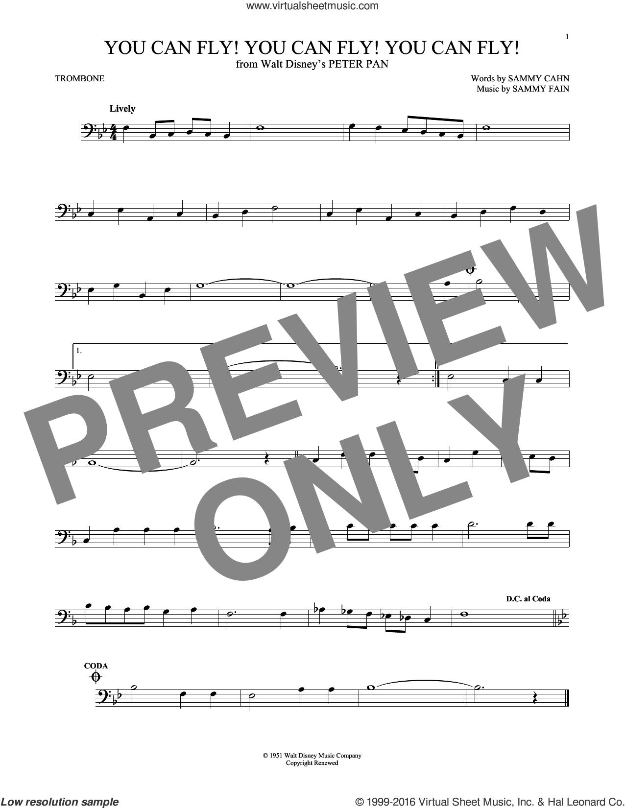 You Can Fly! You Can Fly! You Can Fly! sheet music for trombone solo by Sammy Cahn and Sammy Fain, intermediate skill level