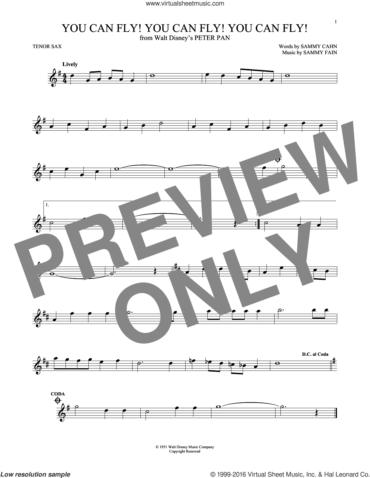 You Can Fly! You Can Fly! You Can Fly! sheet music for tenor saxophone solo by Sammy Cahn and Sammy Fain. Score Image Preview.