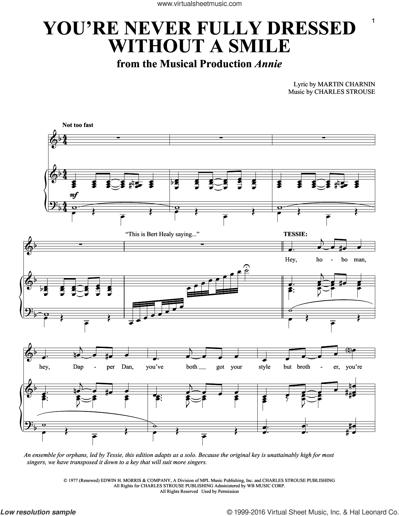 You're Never Fully Dressed Without A Smile sheet music for voice and piano by Martin Charnin and Charles Strouse, intermediate skill level