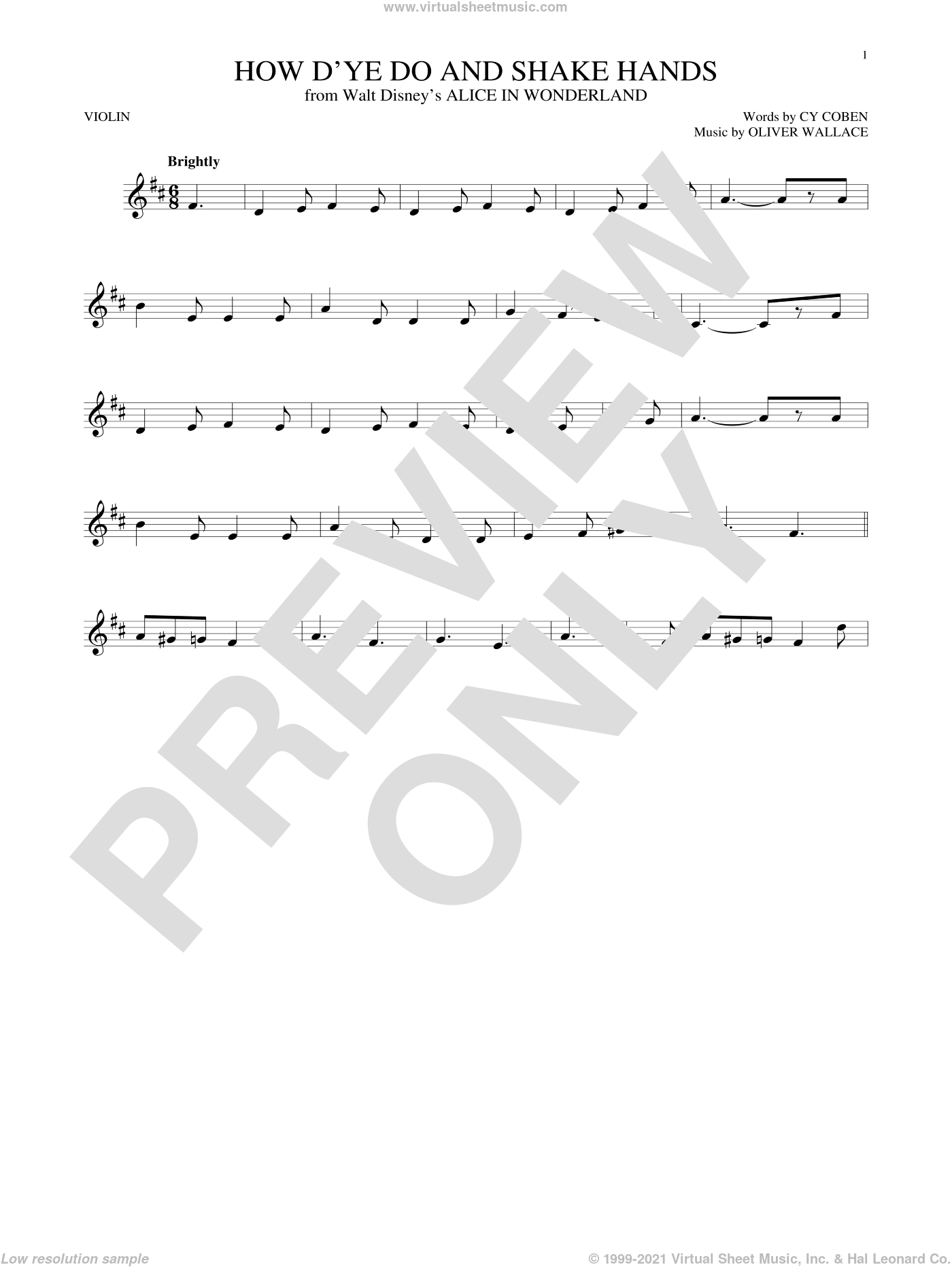 How D'ye Do And Shake Hands sheet music for violin solo by Cy Coben and Oliver Wallace, intermediate violin. Score Image Preview.