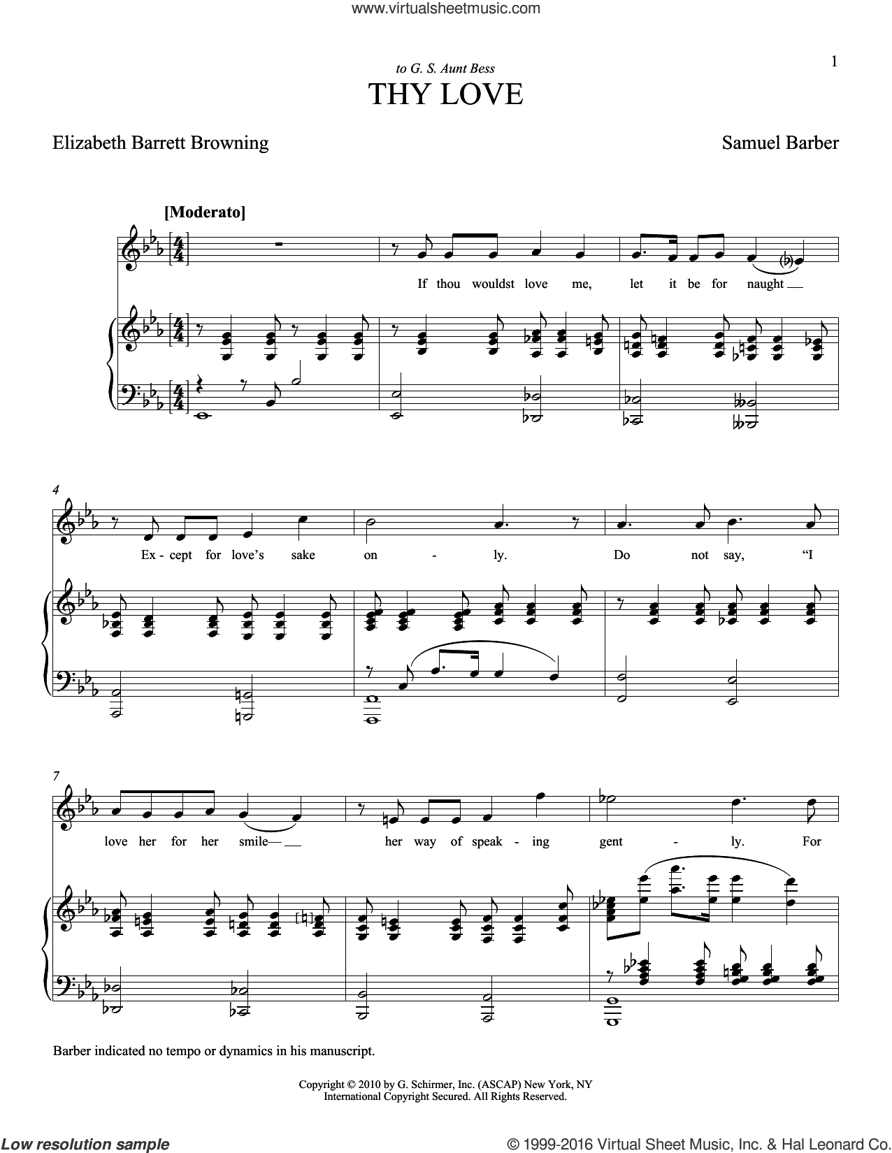Thy Love sheet music for voice and piano (Soprano) by Samuel Barber and Joan Frey Boytim, classical score, intermediate voice. Score Image Preview.