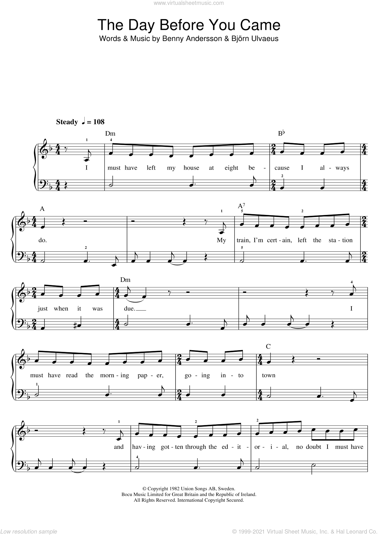The Day Before You Came sheet music for piano solo (beginners) by ABBA, Benny Andersson and Bjorn Ulvaeus, beginner piano (beginners). Score Image Preview.