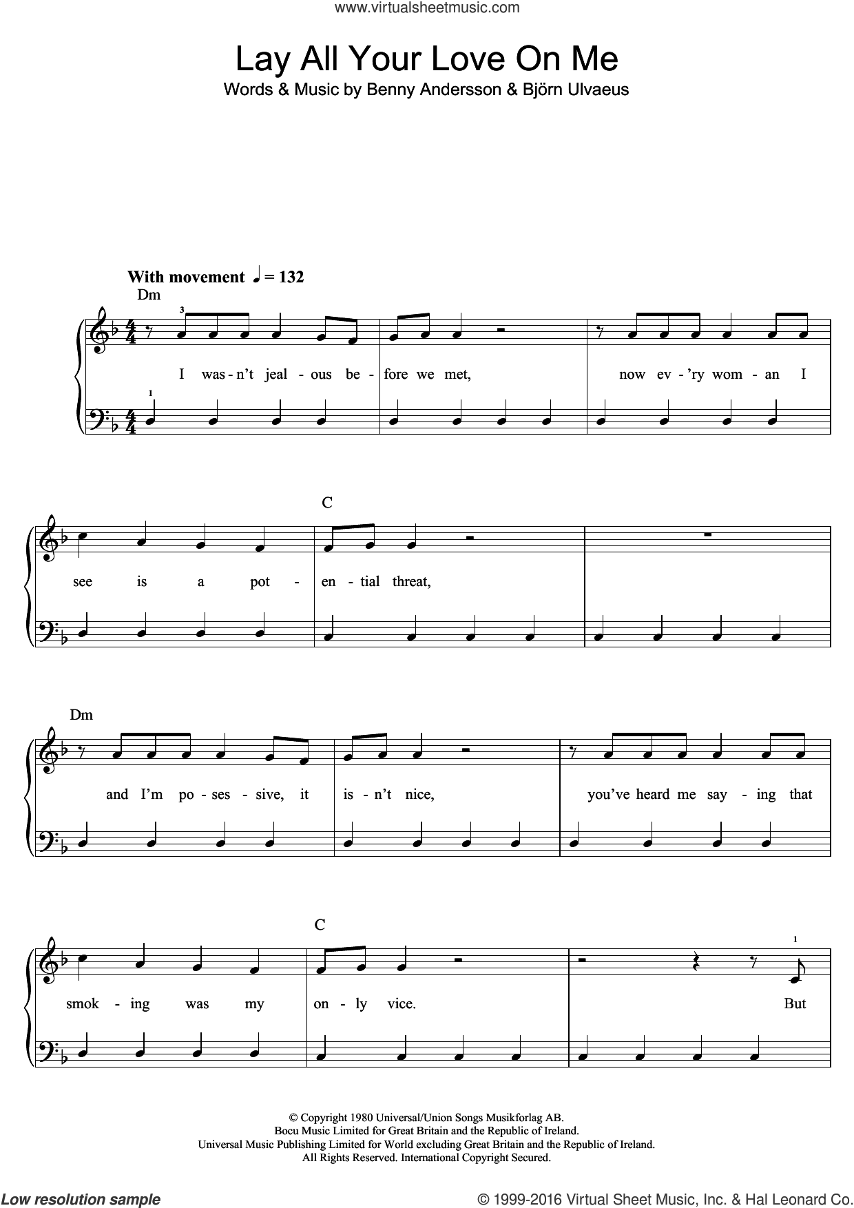 Lay All Your Love On Me sheet music for piano solo (beginners) by ABBA, Benny Andersson and Bjorn Ulvaeus, beginner piano (beginners). Score Image Preview.