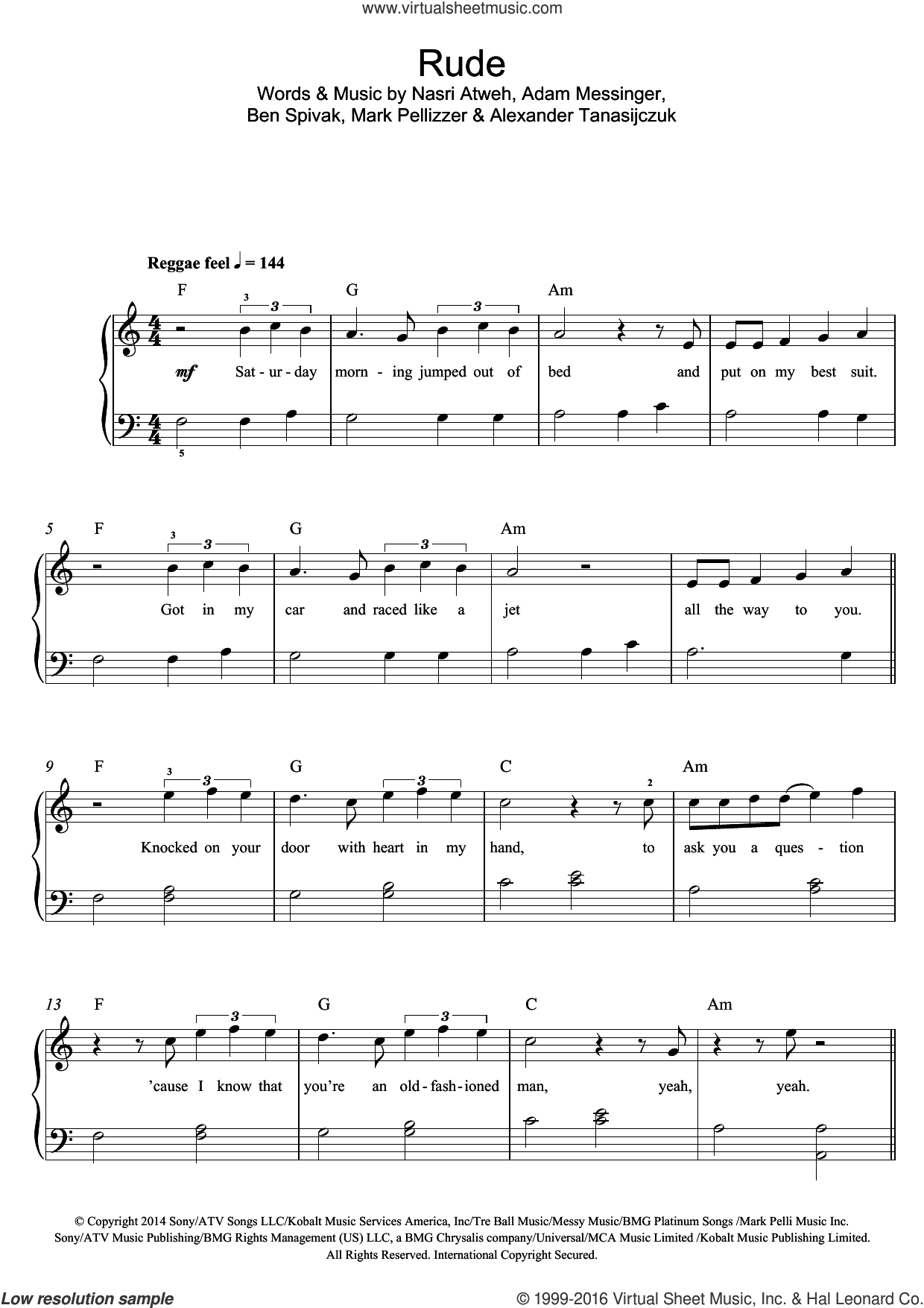 Rude sheet music for piano solo (beginners) by MAGIC!, Adam Messinger, Alexander Tanasijczuk, Ben Spivak, Mark Pellizzer and Nasri Atweh, beginner piano (beginners)
