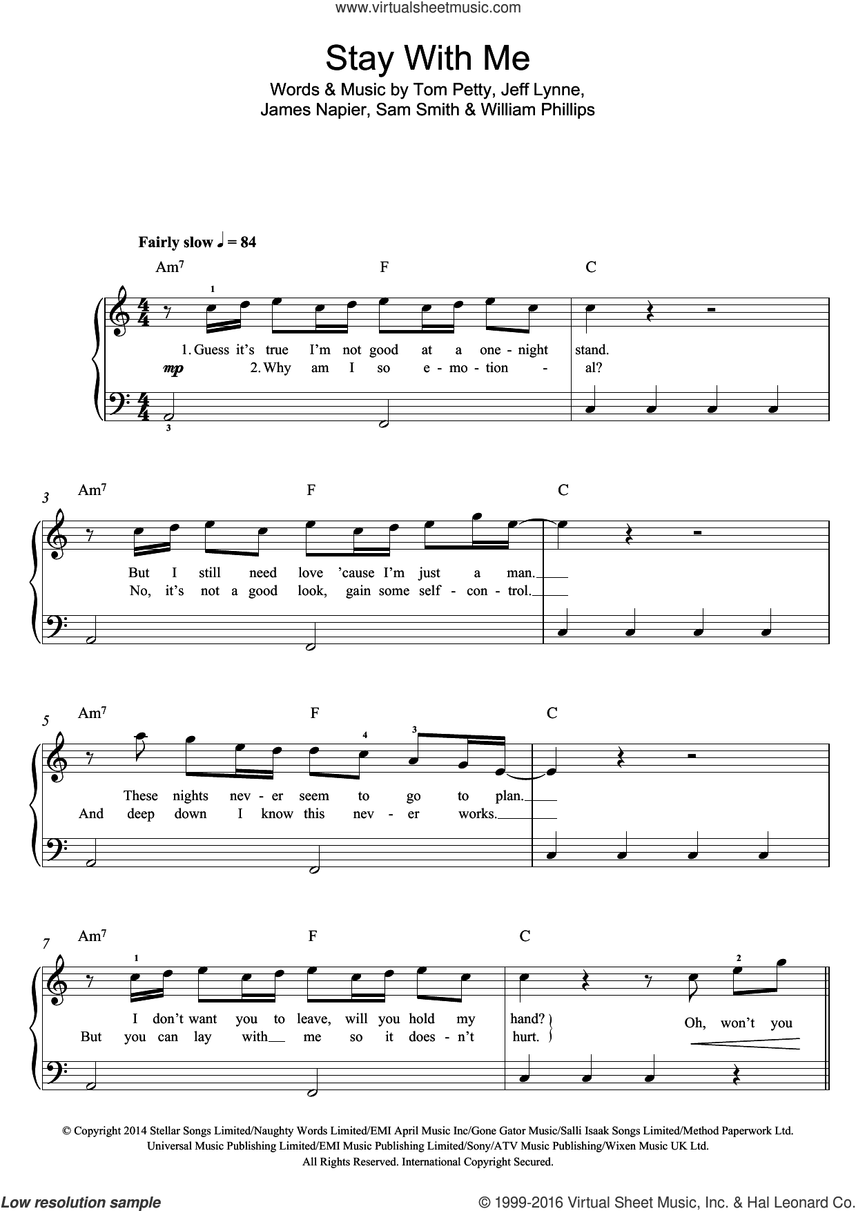 Stay With Me sheet music for piano solo (beginners) by Sam Smith, Jeff Lynne and Tom Petty. Score Image Preview.