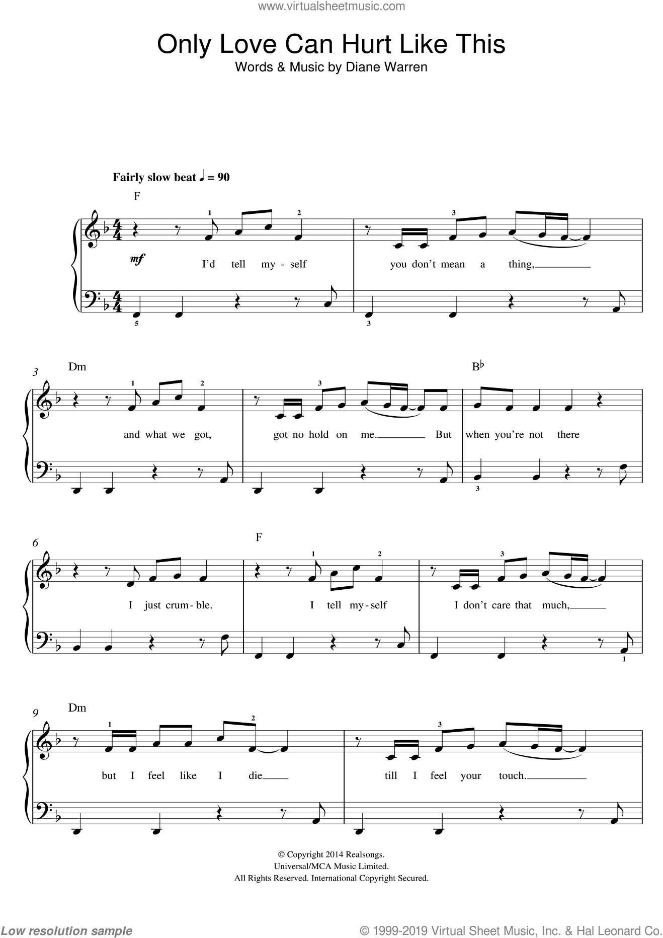 Only Love Can Hurt Like This sheet music for piano solo (beginners) by Paloma Faith and Diane Warren, beginner piano (beginners)