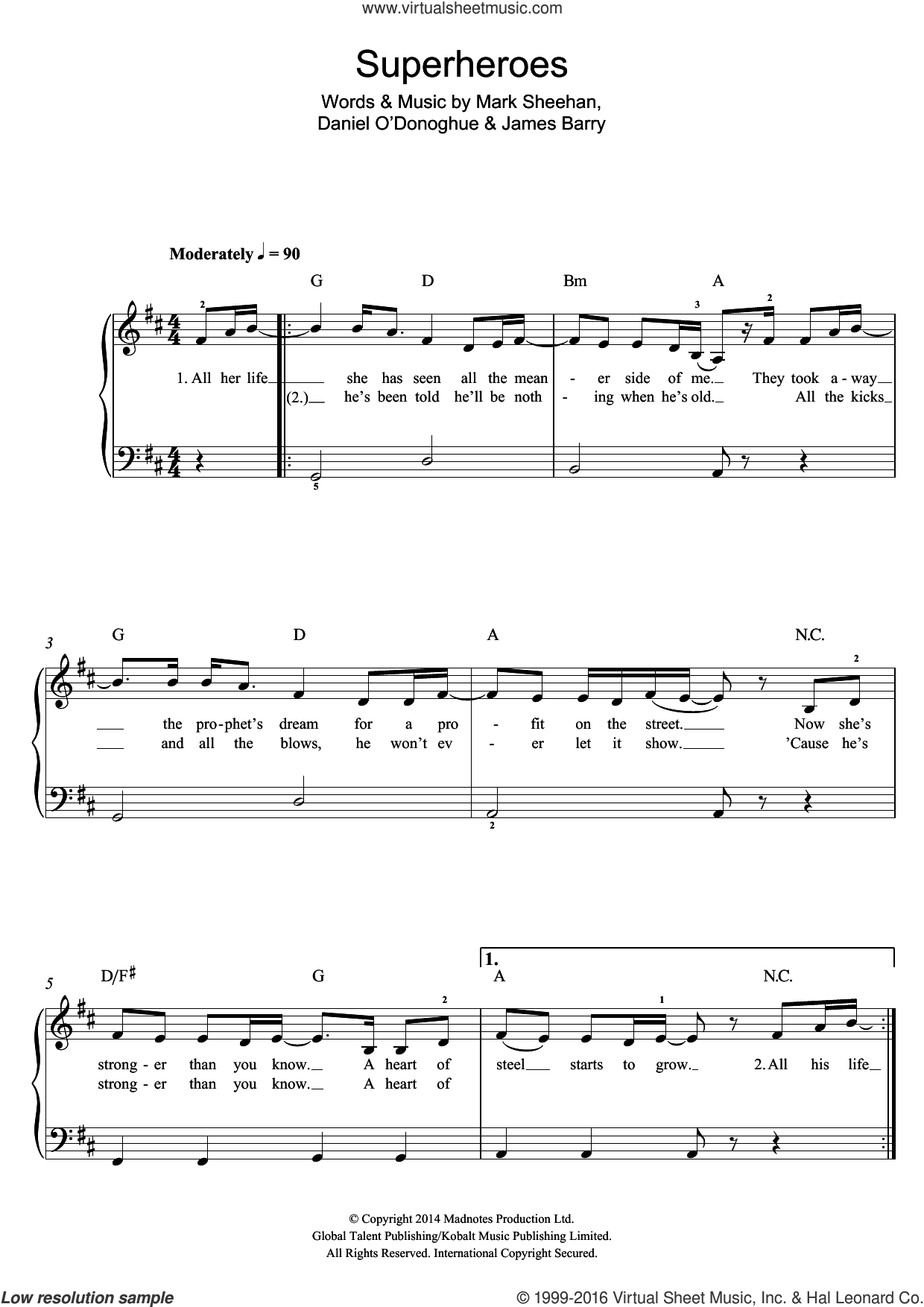 Superheroes sheet music for piano solo (beginners) by Mark Sheehan and The Script. Score Image Preview.