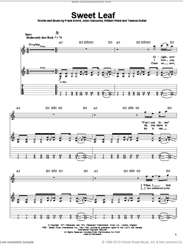 Sweet Leaf sheet music for guitar (tablature, play-along) by William Ward, Black Sabbath, Ozzy Osbourne and Terence Butler. Score Image Preview.