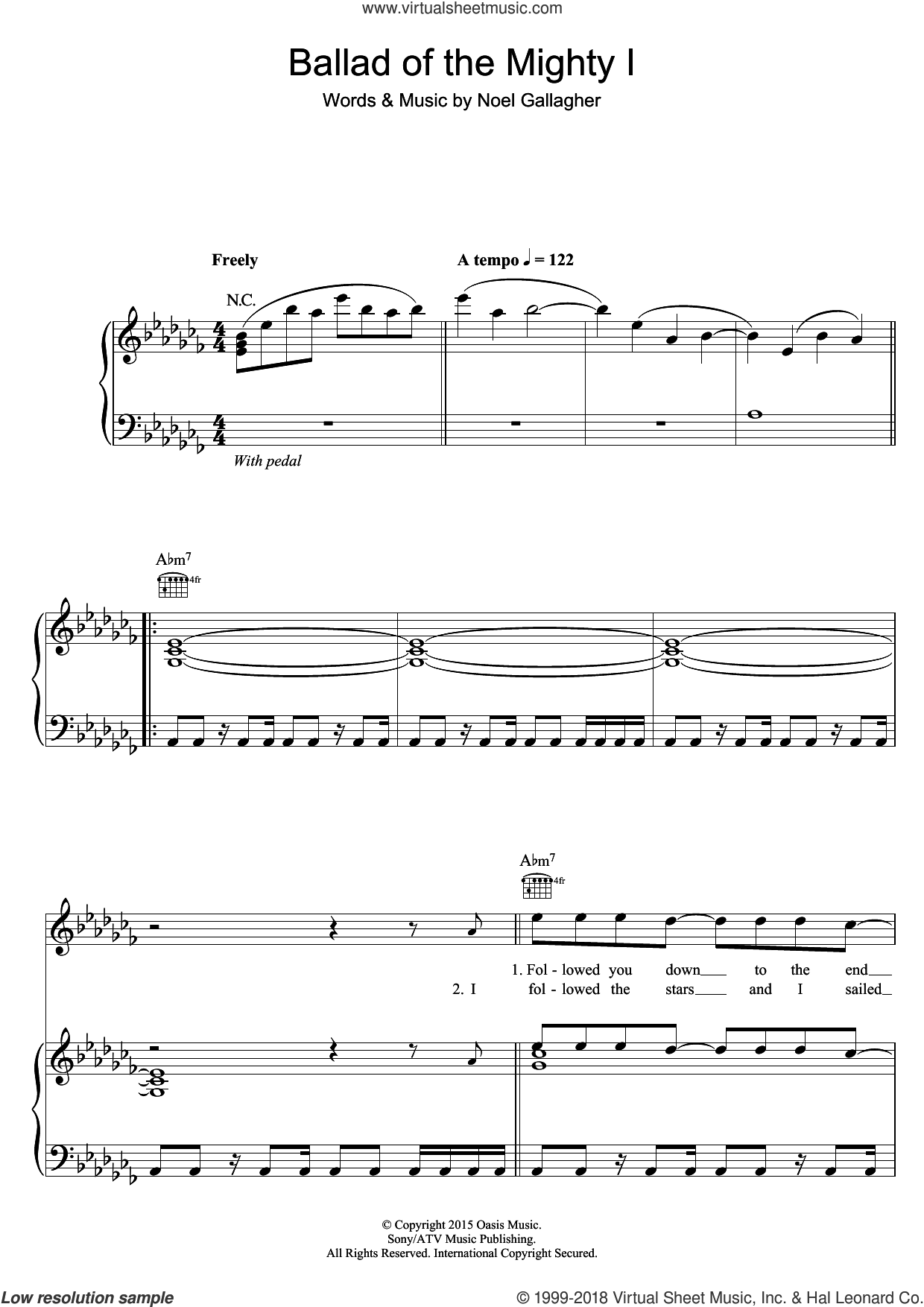 Ballad Of The Mighty I sheet music for voice, piano or guitar by Noel Gallagher's High Flying Birds and Noel Gallagher, intermediate skill level