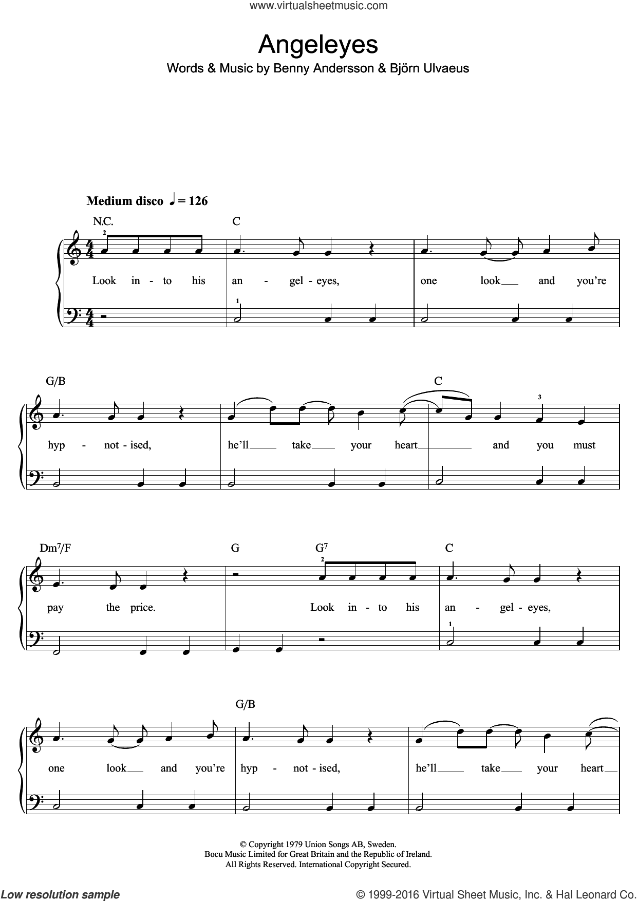 Angeleyes sheet music for piano solo (beginners) by ABBA, Benny Andersson and Bjorn Ulvaeus, beginner piano (beginners). Score Image Preview.