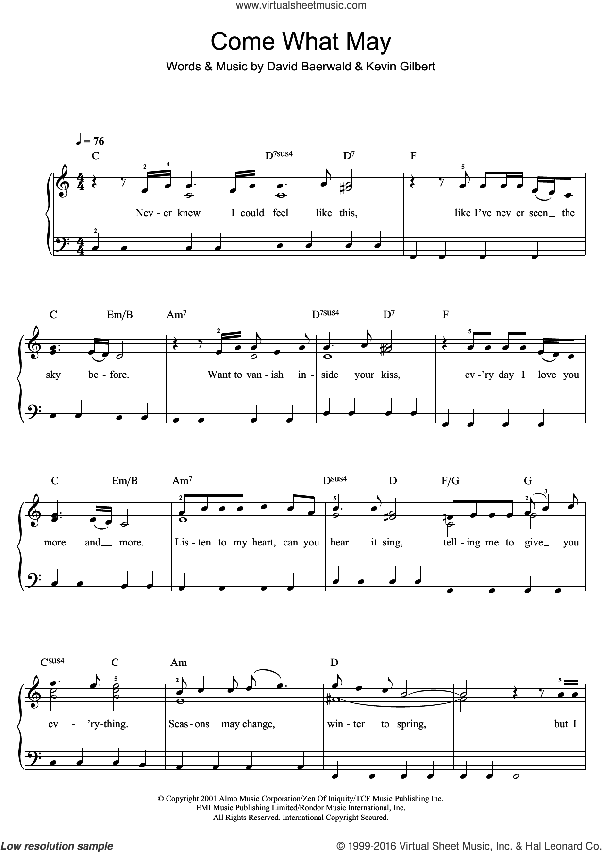 Come What May (from Moulin Rouge) sheet music for piano solo (beginners) by Nicole Kidman, Ewan McGregor, Nicole Kidman & Ewan McGregor, David Baerwald and Kevin Gilbert, beginner piano (beginners)