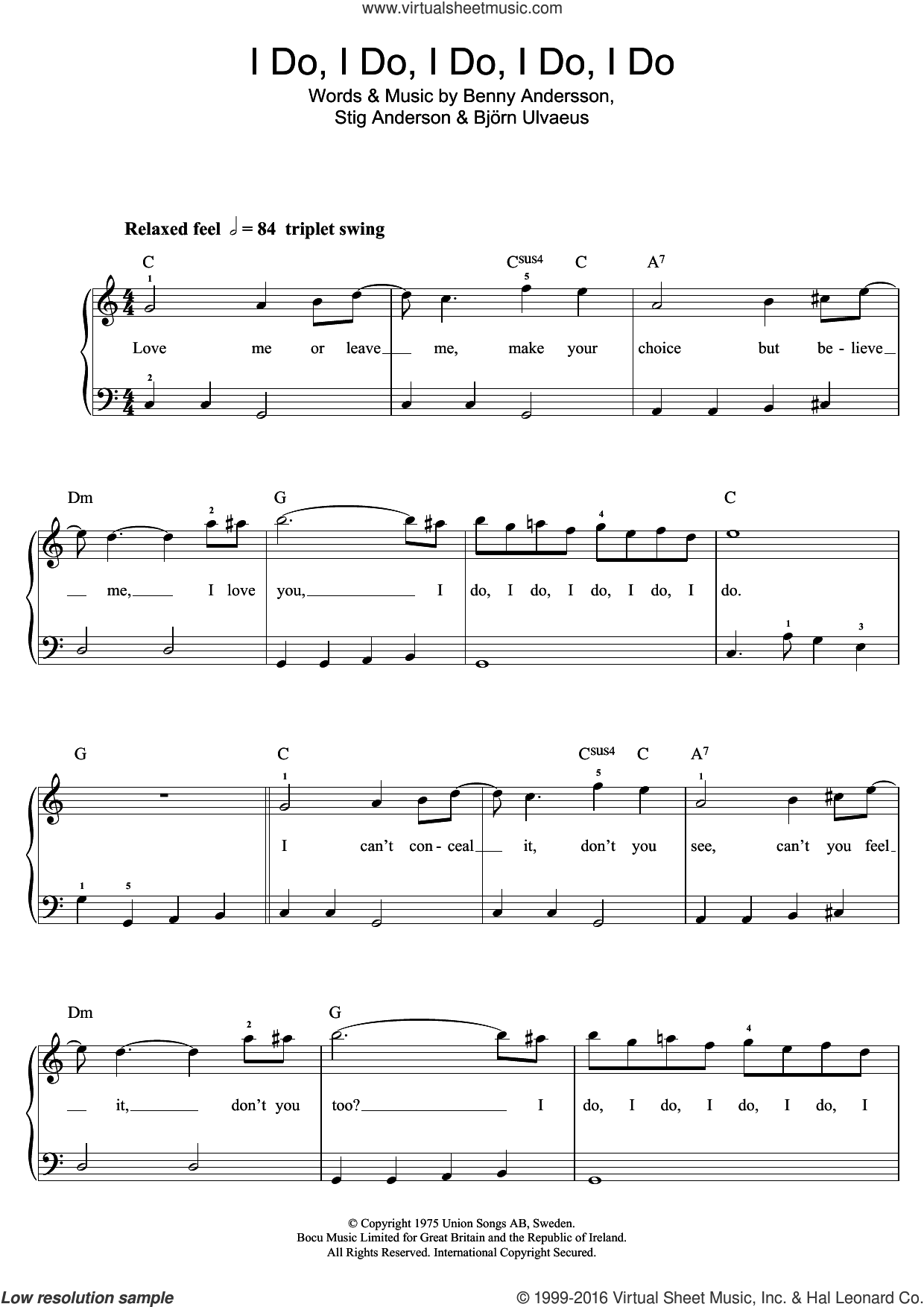 I Do, I Do, I Do, I Do, I Do sheet music for piano solo (beginners) by ABBA, Benny Andersson, Bjorn Ulvaeus and Stig Anderson. Score Image Preview.