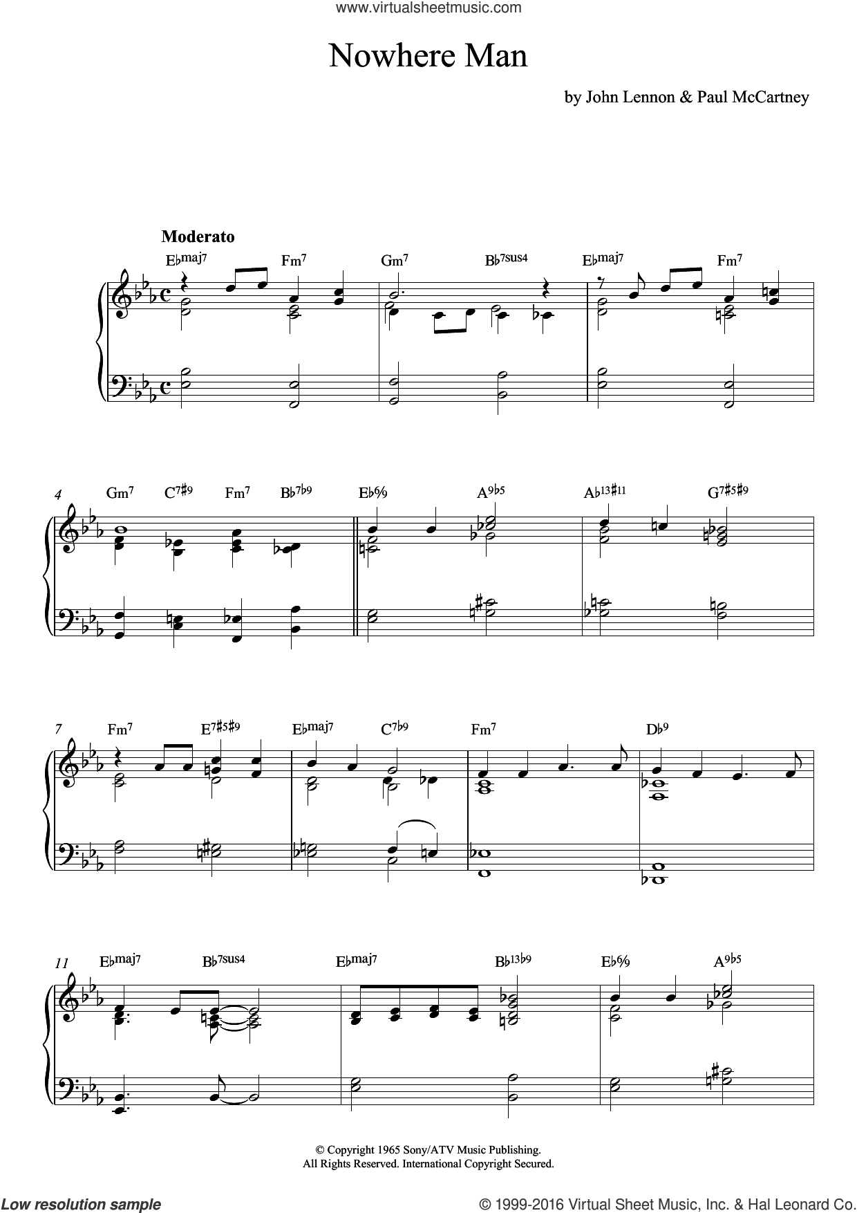 Nowhere Man (jazz version) sheet music for piano solo by The Beatles, John Lennon and Paul McCartney, intermediate skill level