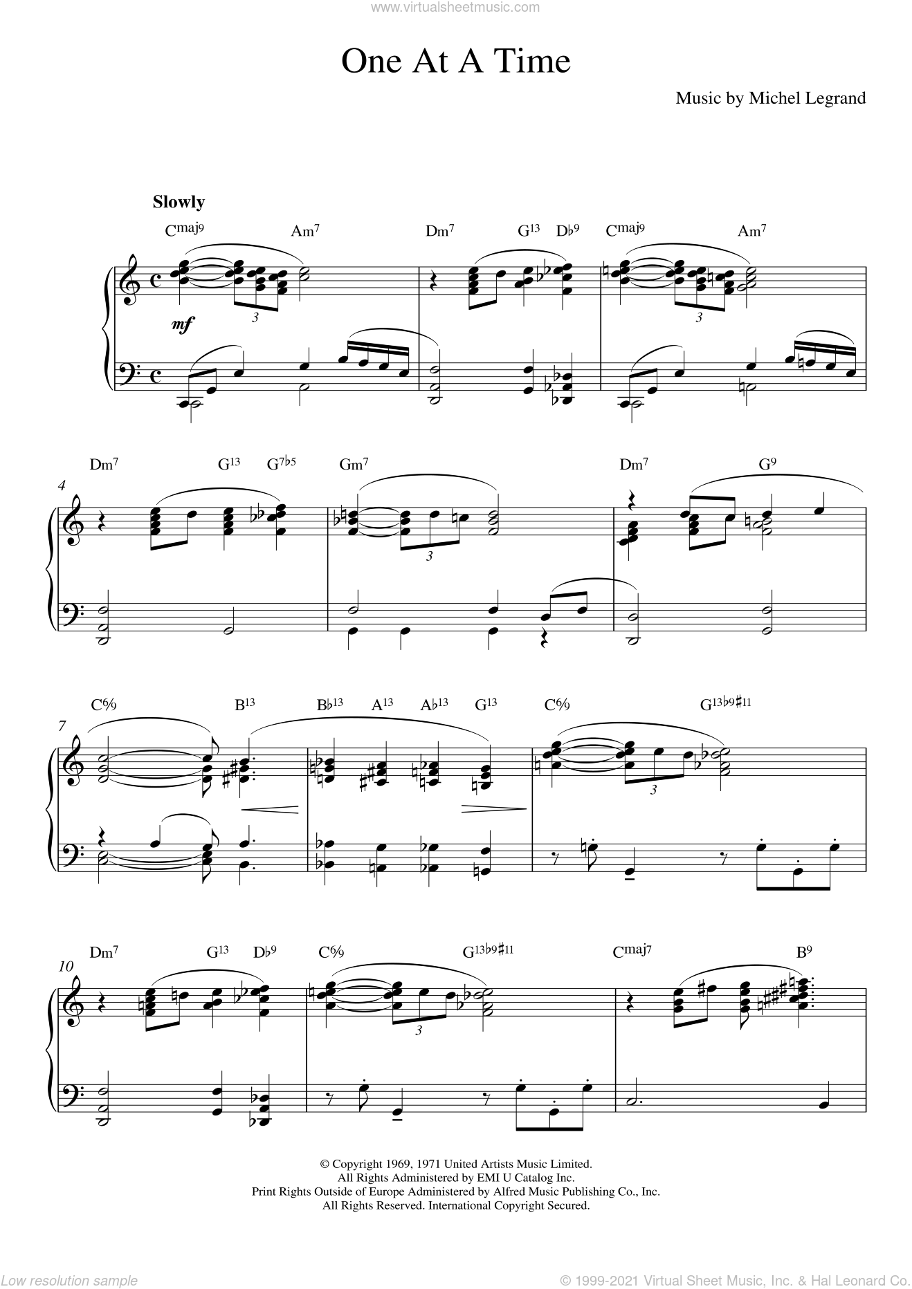 One At A Time sheet music for piano solo by Michel LeGrand, Alan Bergman and Marilyn Bergman, intermediate