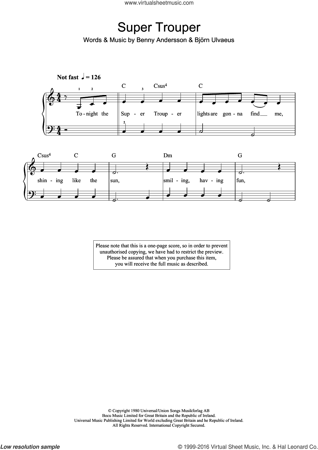 Super Trouper sheet music for piano solo (beginners) by ABBA, Benny Andersson and Bjorn Ulvaeus, beginner piano (beginners). Score Image Preview.
